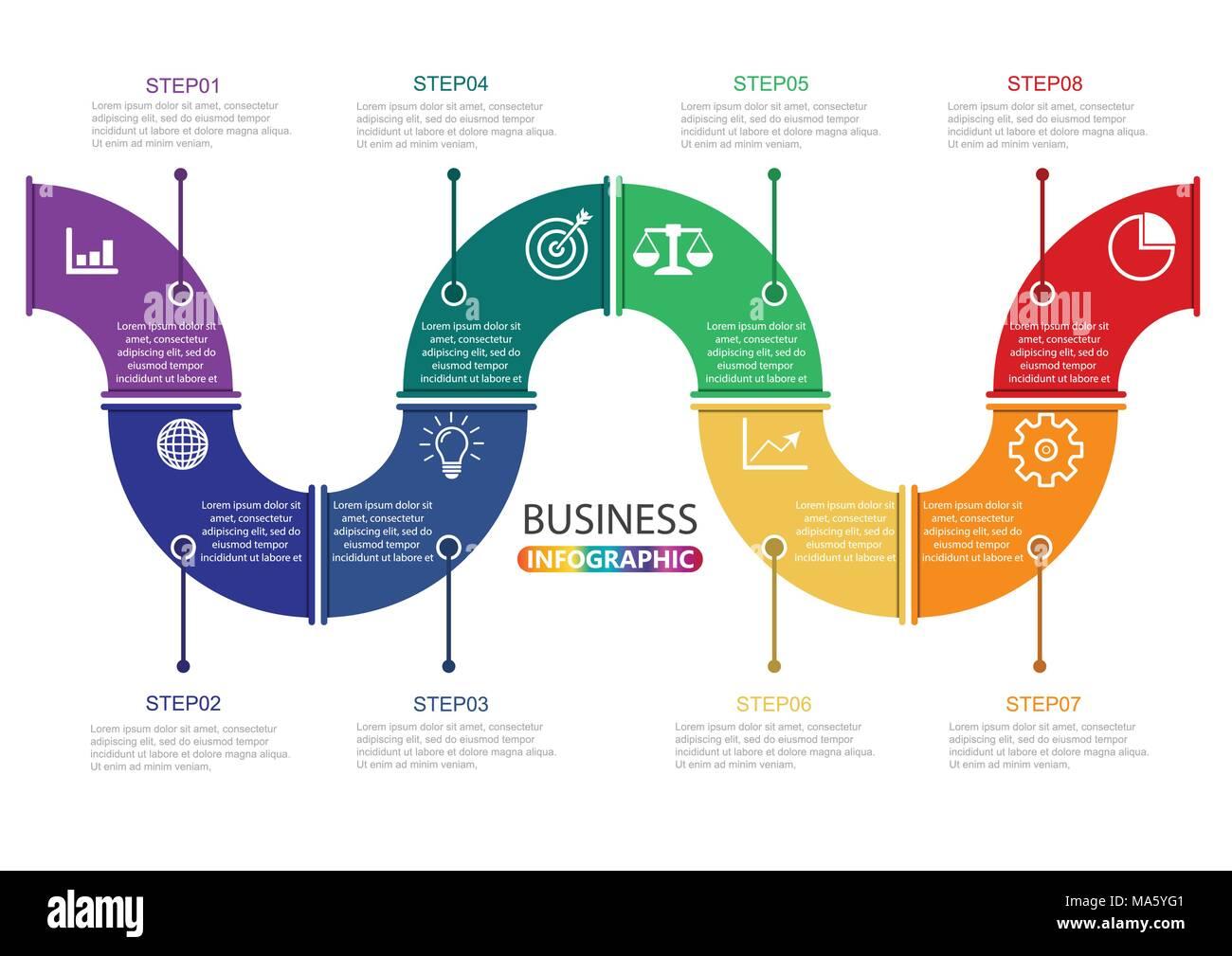 Timeline Infografiken design Vorlage mit 8 Optionen ...