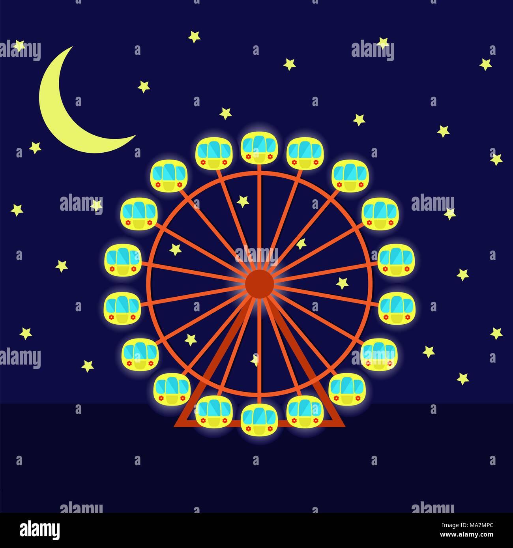 Nacht Riesenrad Mit Beleuchtung, Vector Illustration Cartoon Flat Style.  Riesenrad, Mond Und Sterne