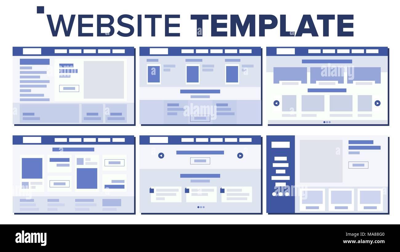 Website Seite Set Design Vector Reaktionsschnelle Webseiten Design