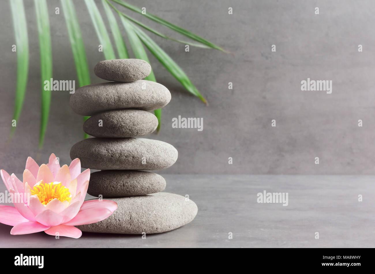 Steine, pink flower Lotus und Grün palm leaf Balance. Zen und Spa-Konzept. Stockbild