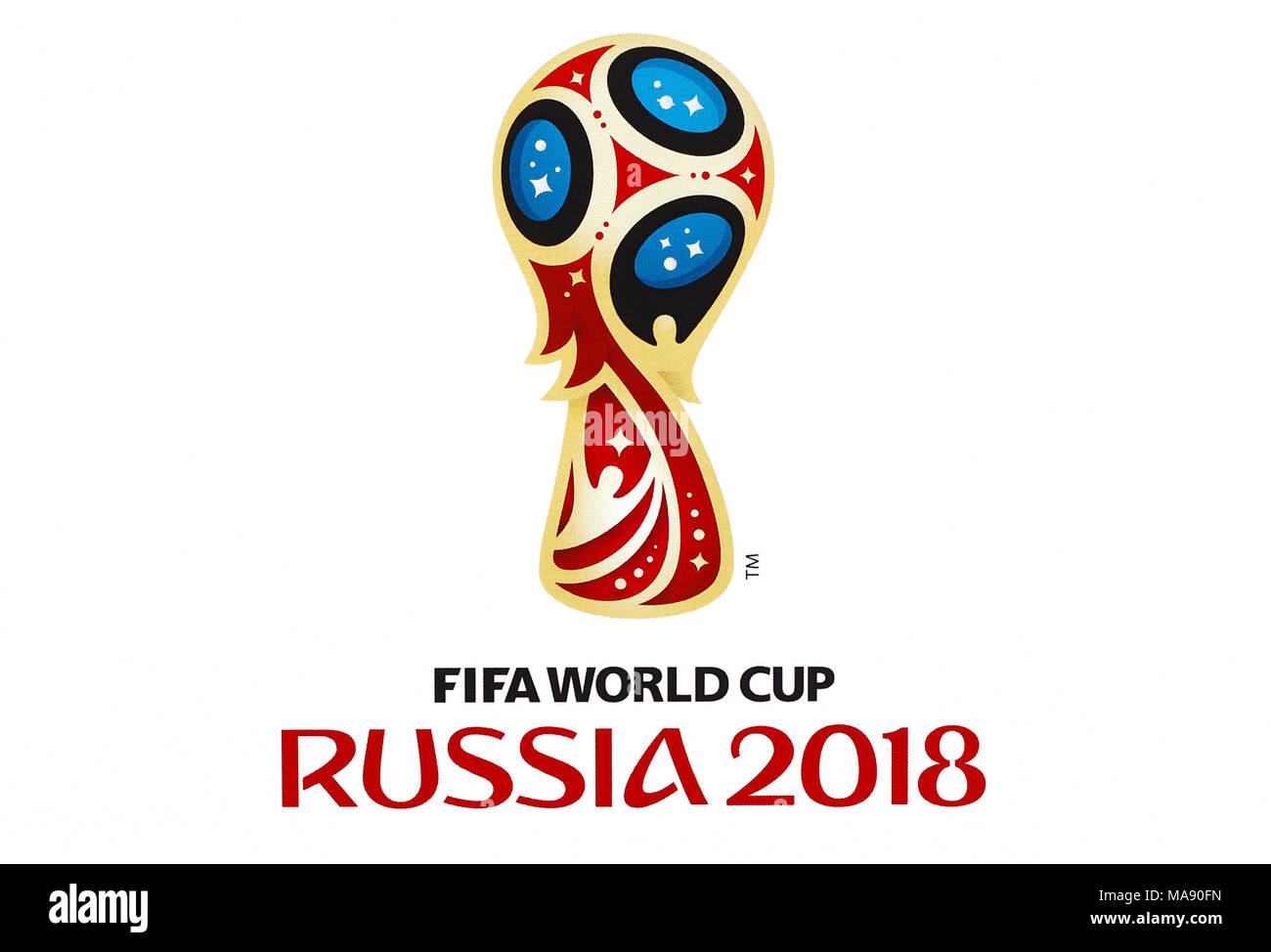 Danzig, Polen - 20. MÄRZ 2018. Fußball-WM in Russland, Logo in World Cup 2018 sticker Album gedruckt. Nur redaktionelle Verwendung! Stockbild