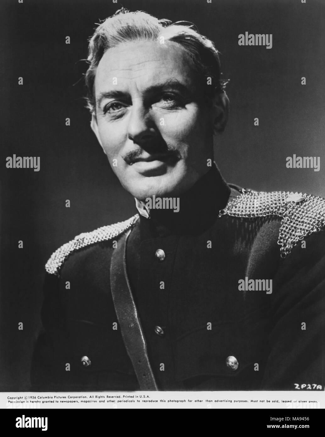 "Michael Wilding, Werbung, Portrait, der britische Film ""Zarak"", Columbia Pictures, 1956, Film Release Datum, 10. Januar 1957 Stockbild"