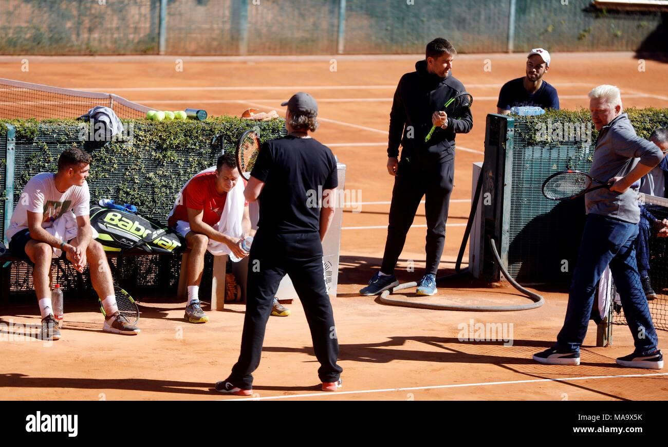 Bundestrainer Der Davis Cup Team Boris Becker R Führt Die Schulung