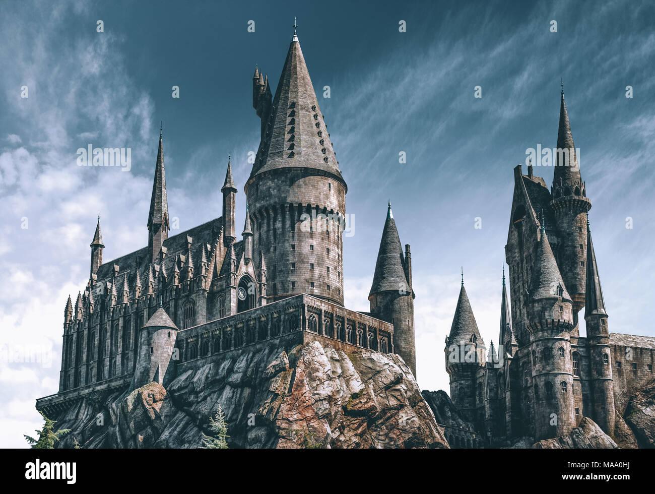 hogwarts castle harry potter stockfotos hogwarts castle. Black Bedroom Furniture Sets. Home Design Ideas