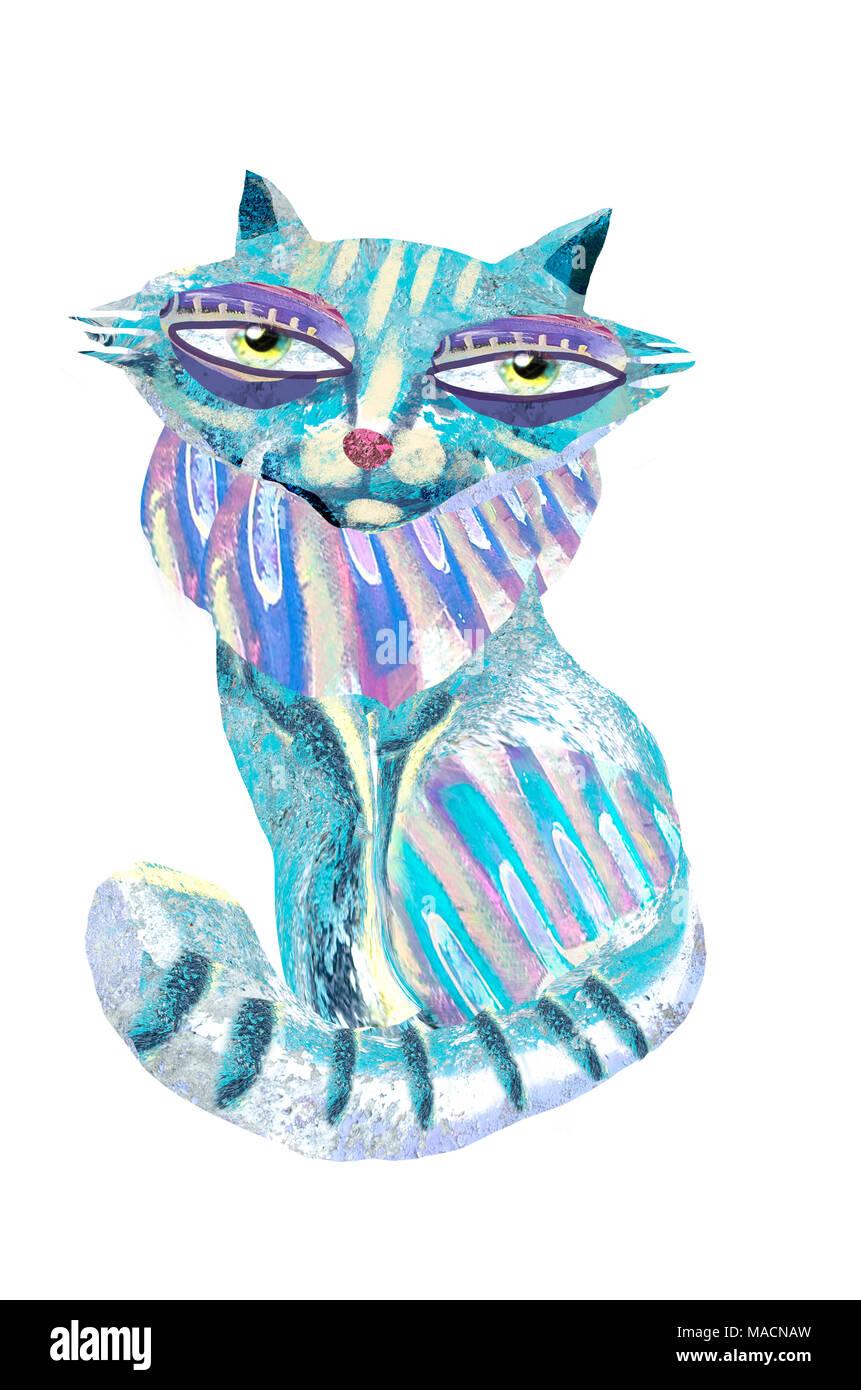 Süße Hand gemalte Katze auf weißem Hintergrund. Cartoon Charakter ...