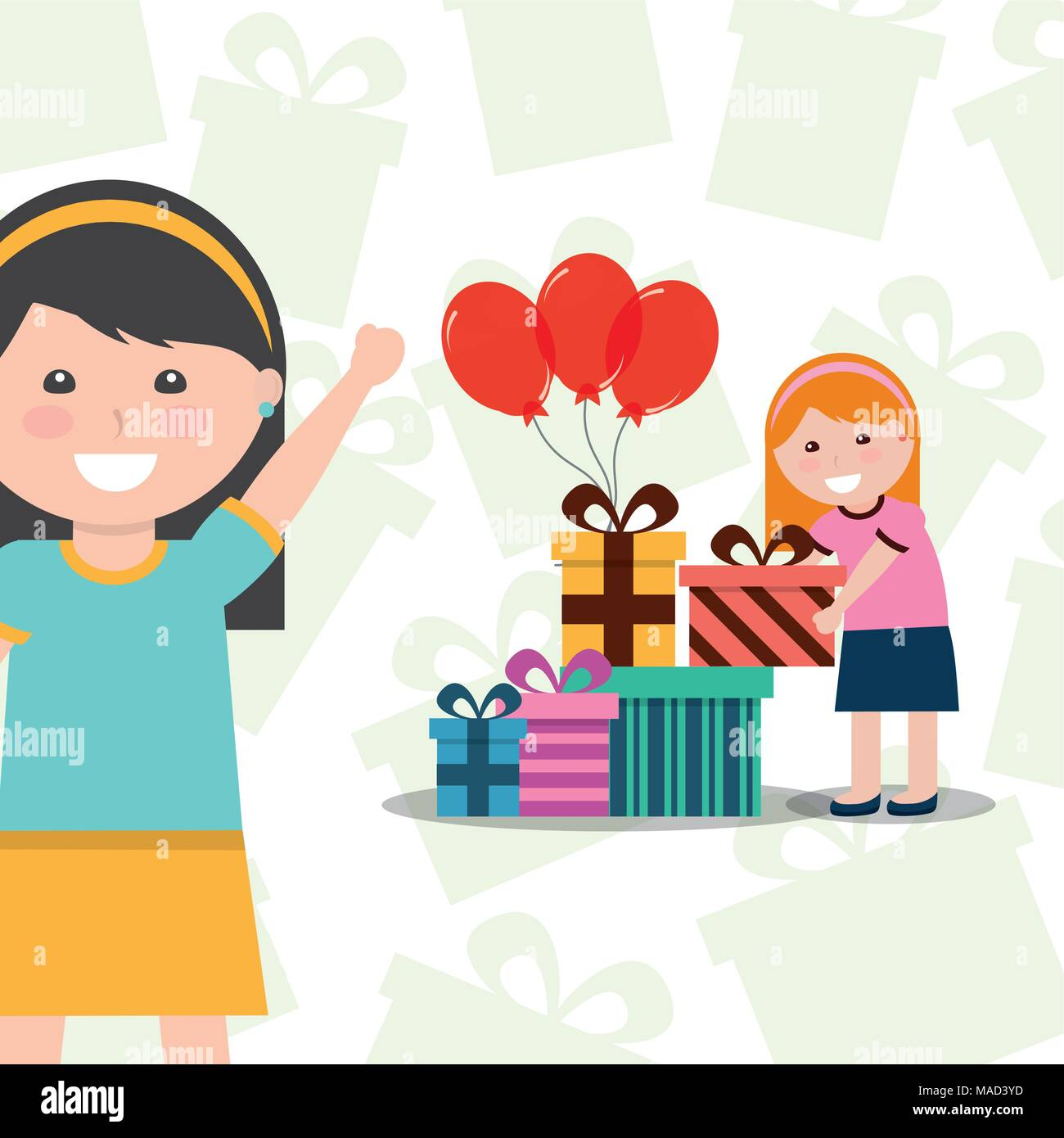 Nettes Mädchen Mit Geschenk Box Einem Freund Happy Birthday
