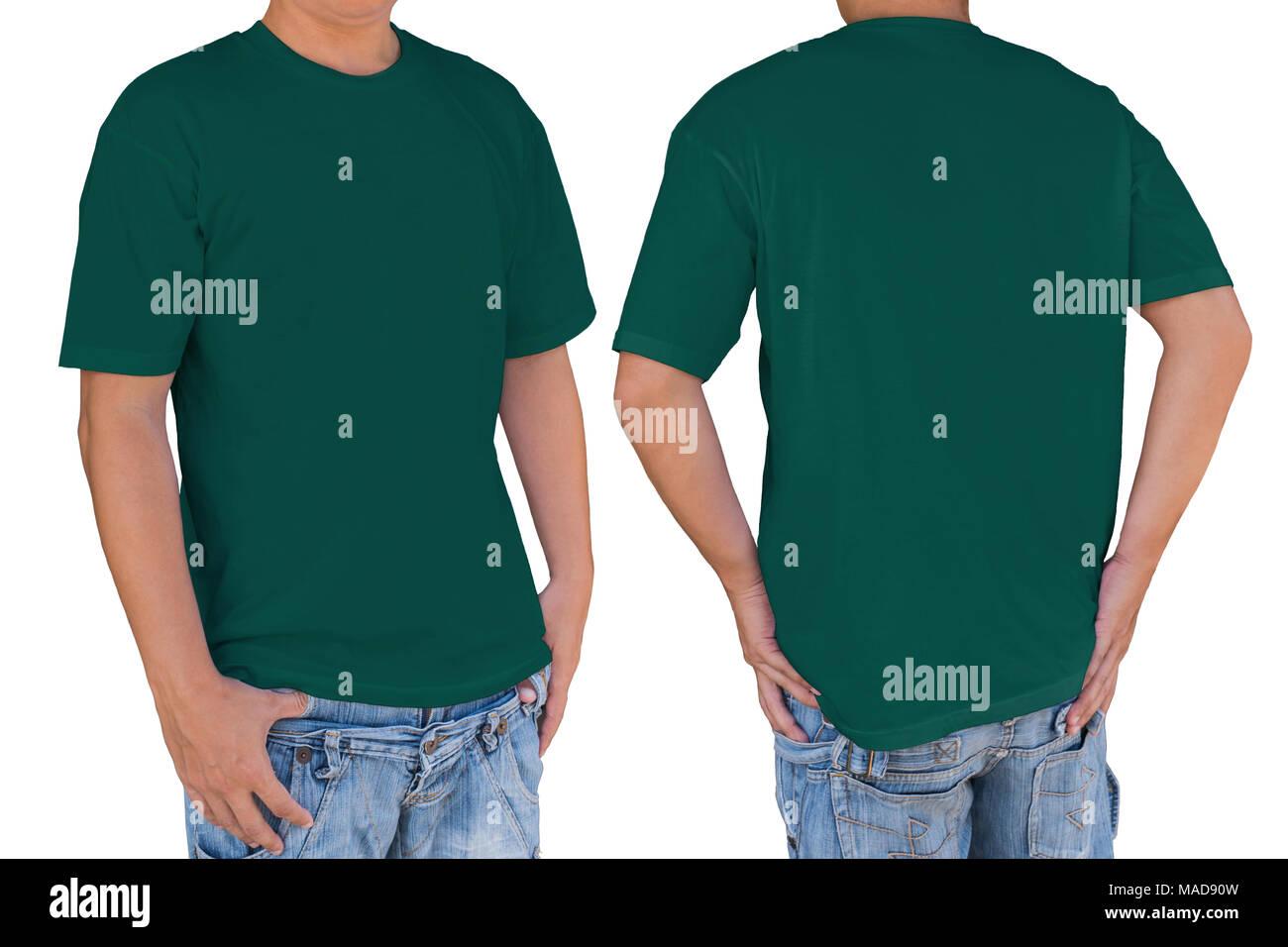 Mann mit leeren dunklen Cyan Farbe t-shirt mit Freistellungspfad ...