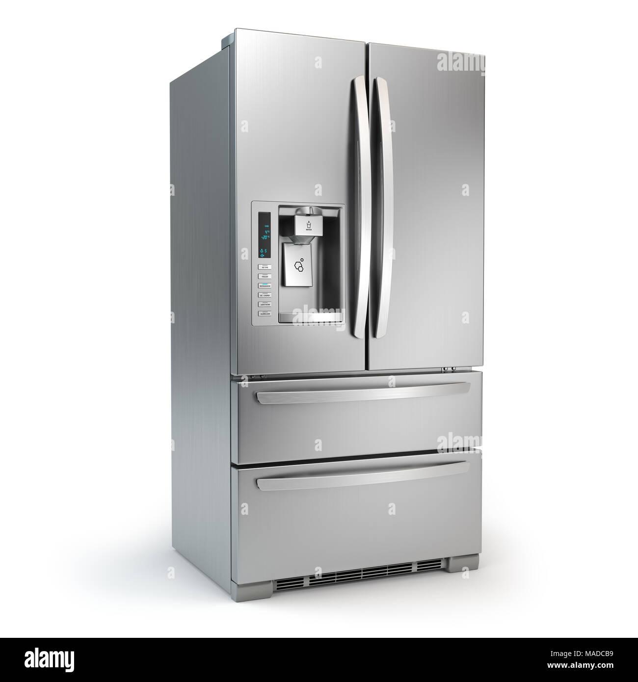 Kühlschrank mit Gefrierfach. Seite an Seite Edelstahl srefrigerator ...