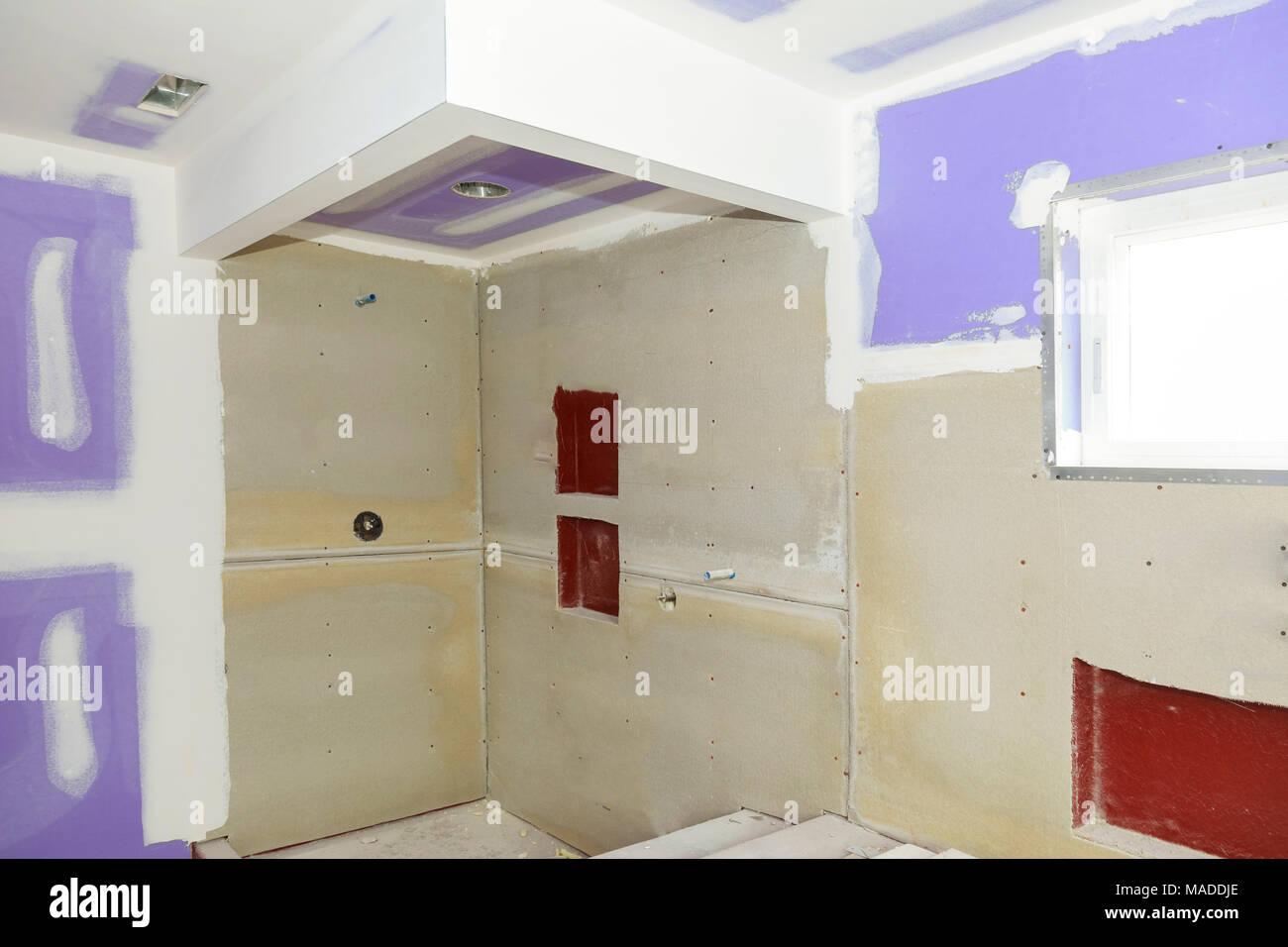 Badezimmer umgestalten Weiterkommt als Trockenbau wird geglättet ...
