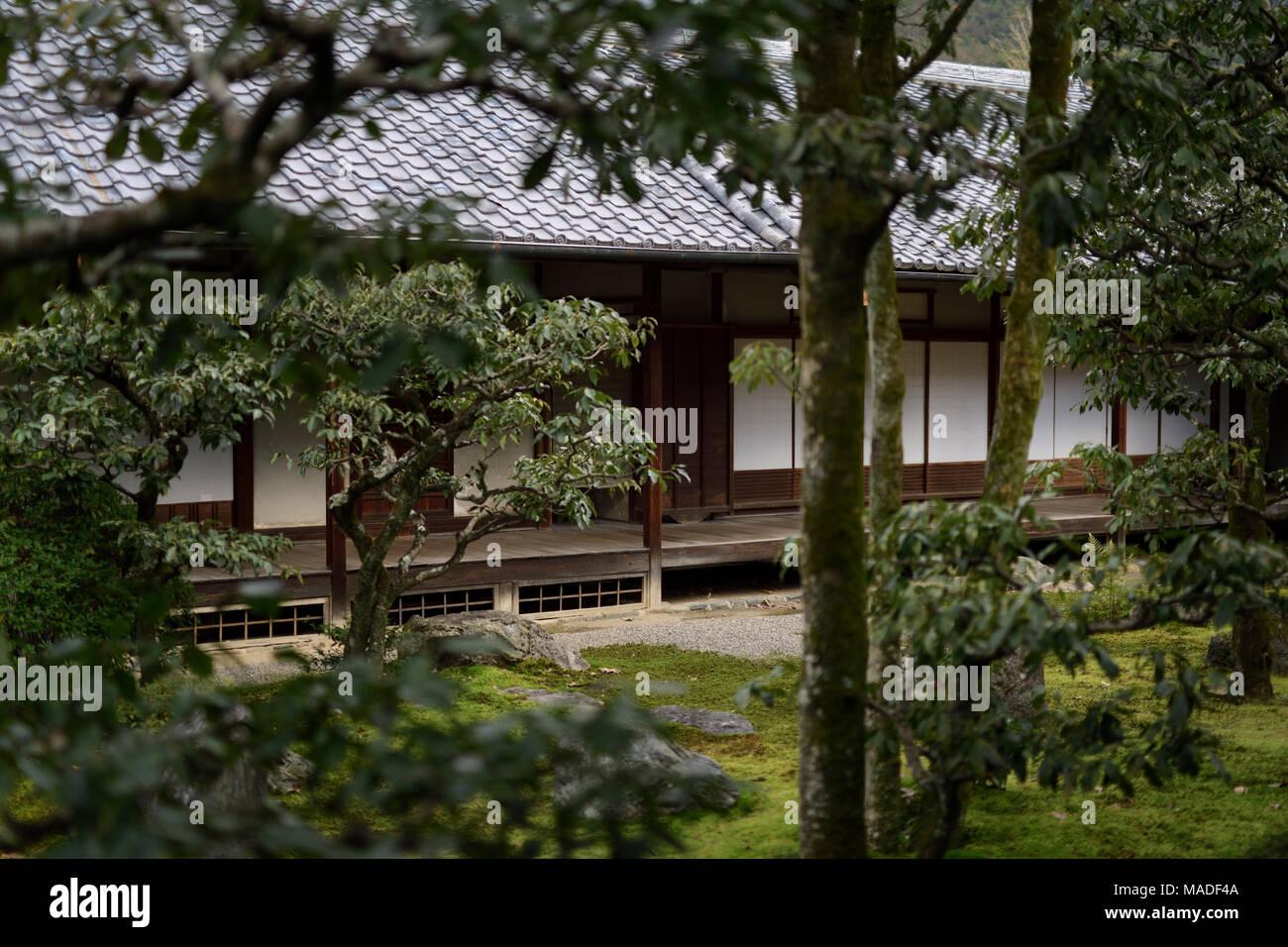 Traditionelle Japanische Architektur Eines Hauses Innenhof