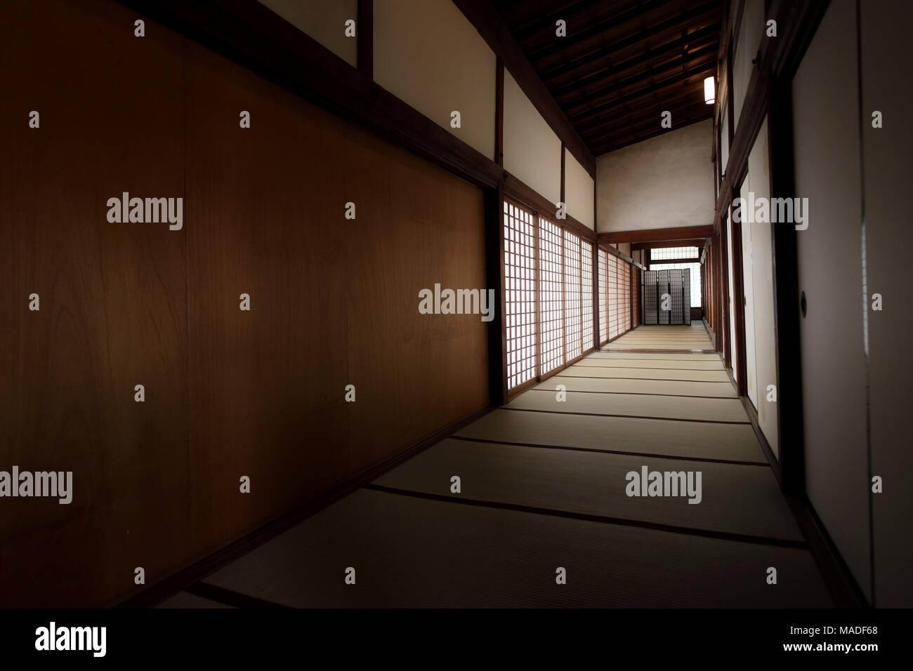 Traditionelle Japanische Innenraum Flur Mit Tatami Matten