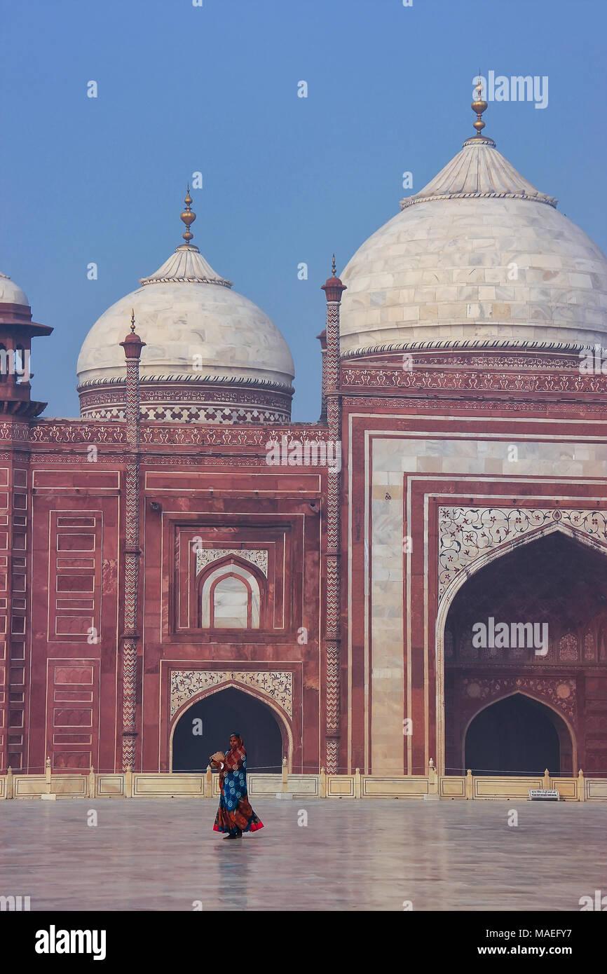 Nahaufnahme des jawab im Taj Mahal Komplex, Uttar Pradesh, Indien. Taj Mahal wurde als UNESCO-Weltkulturerbe im Jahr 1983 bezeichnet. Stockbild