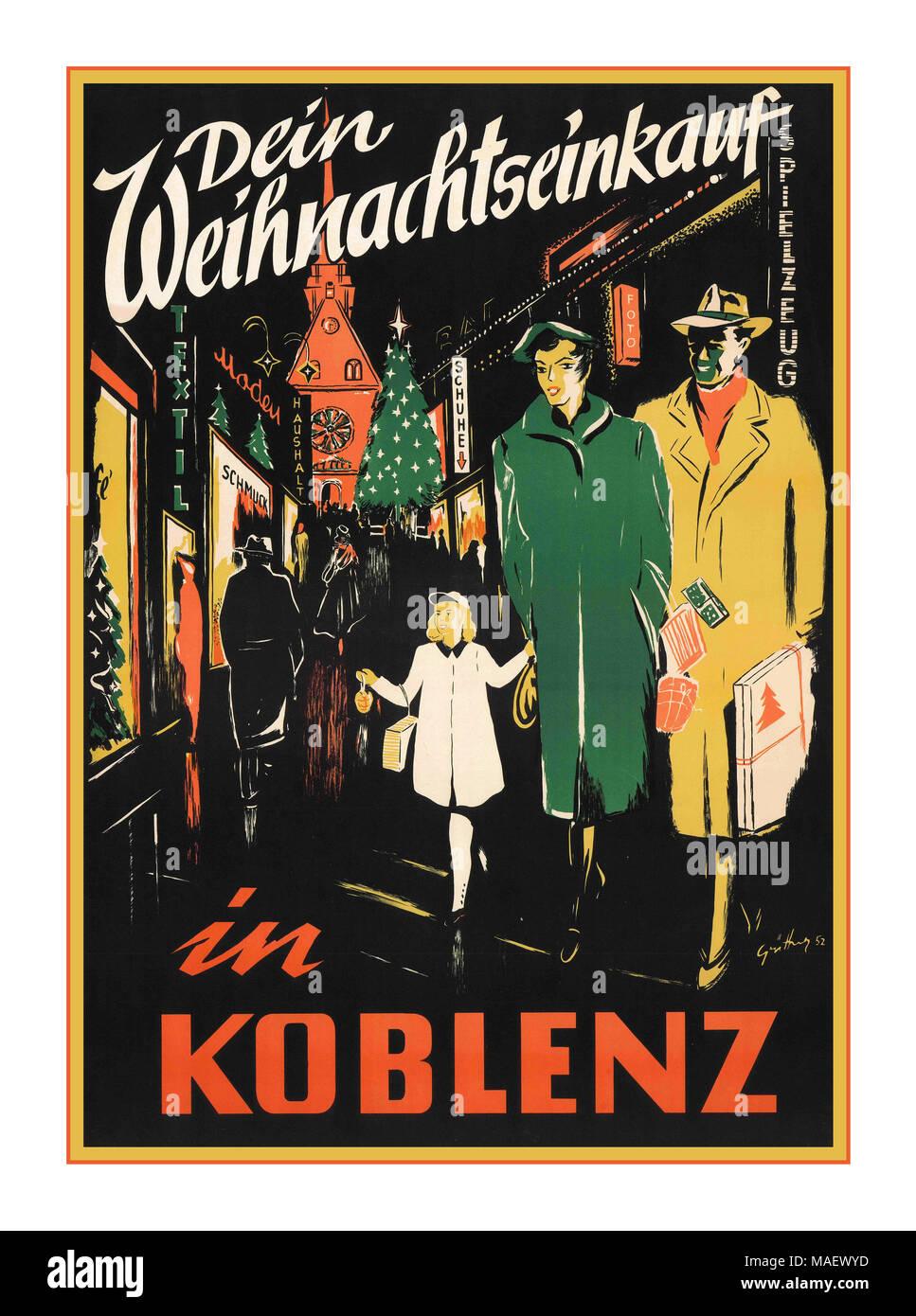 Vintage Travel Poster Dein Weihnachtseinkauf in Koblenz, 1952 ...