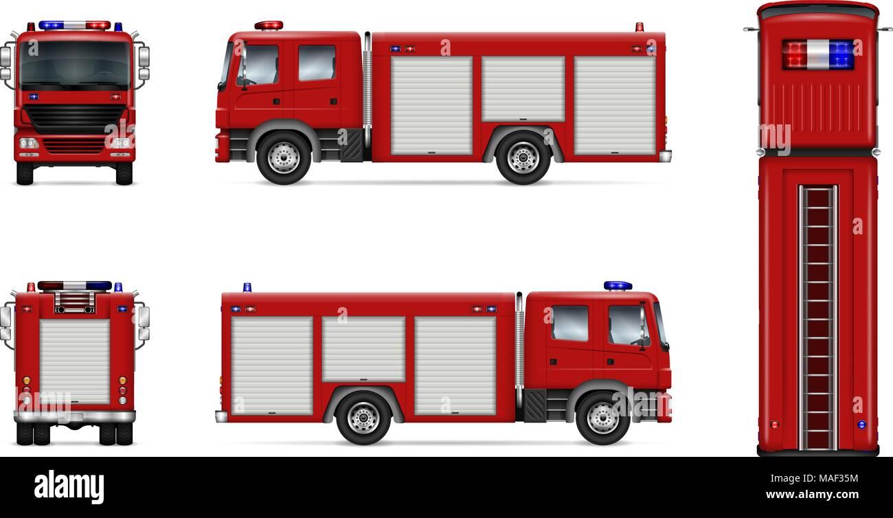 Fire Truck vektor Mock-up. Isolierte Vorlage der roten Lkw auf Weiß ...
