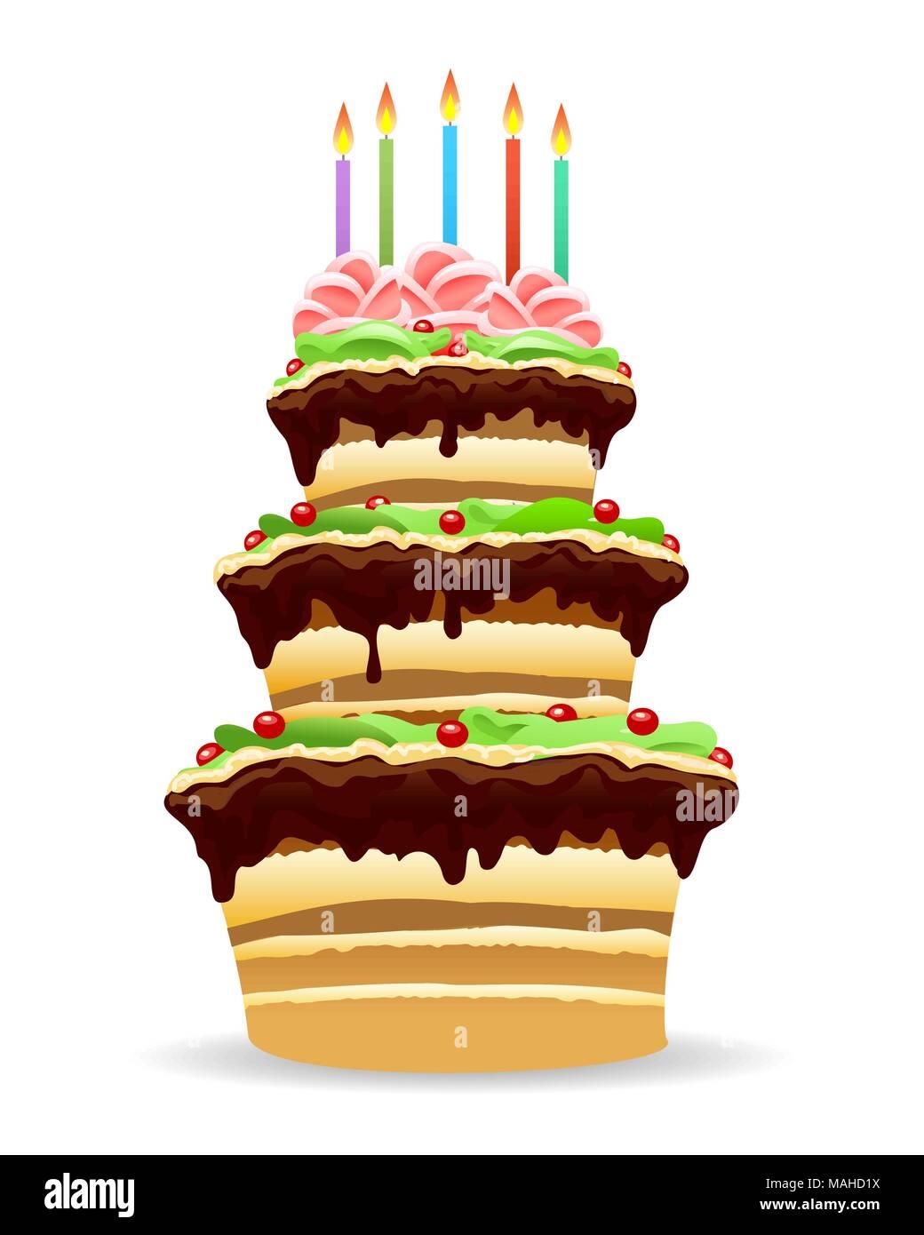 Geburtstag Kuchen Mit Brennenden Kerzen Im Comic Stil Gezeichnet