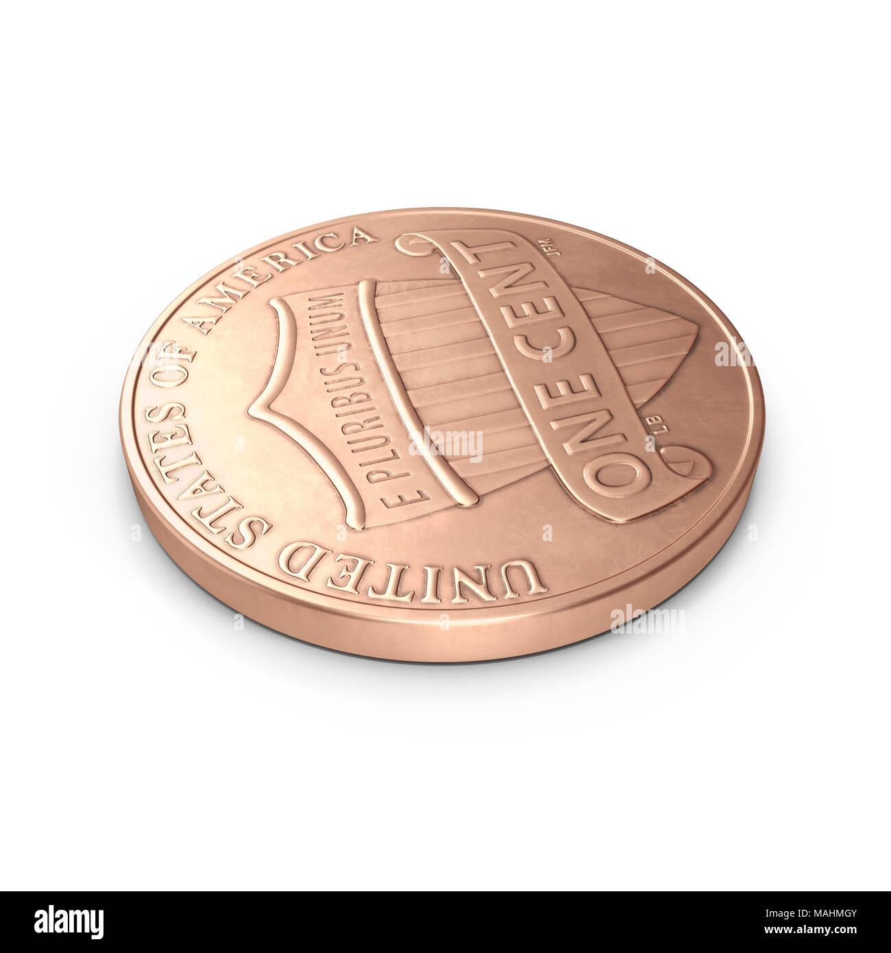 Ein Penny Münze isoliert über Weiß. 3D-Illustration, Freistellungspfad Stockfoto