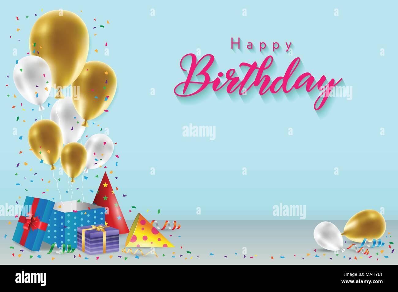 Happy Birthday Hintergrund Vorlage Mit Ballons Geschenkboxen Und