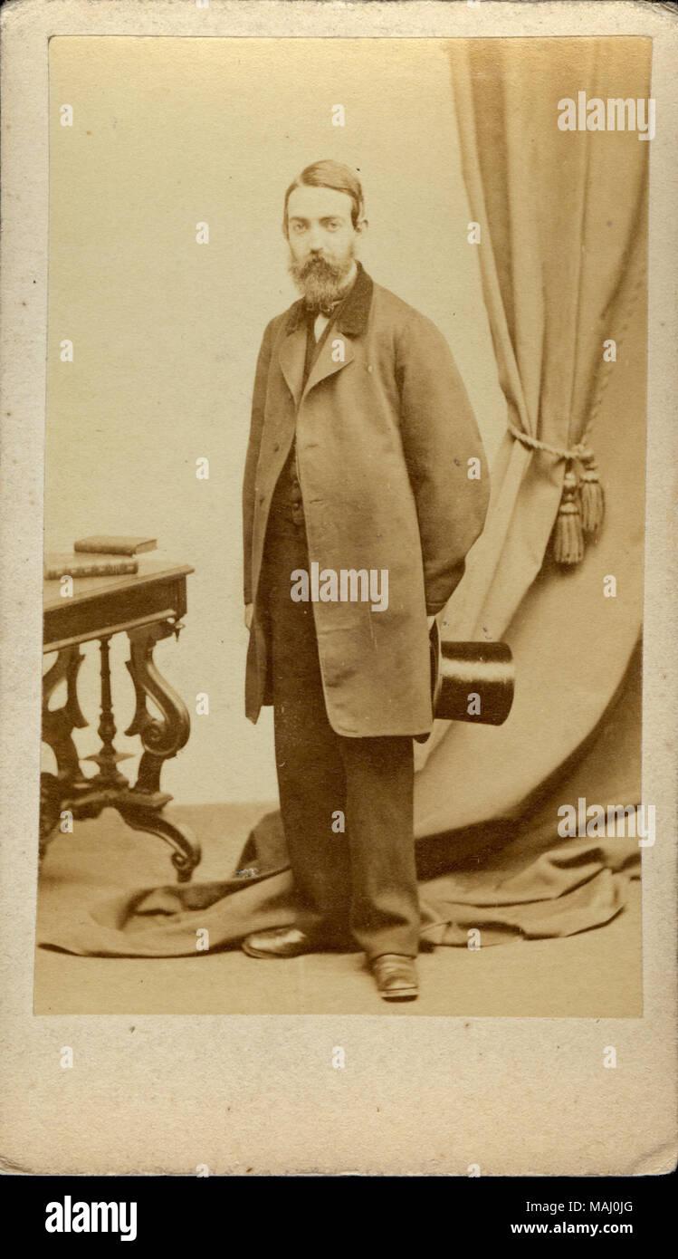 John Green Burgerkrieg Union Chirurg In Formalen Voller Lange Carte De Visite Portrait Er Steht Das Tragen Ziviler Kleidung Und Halt Einen Hut
