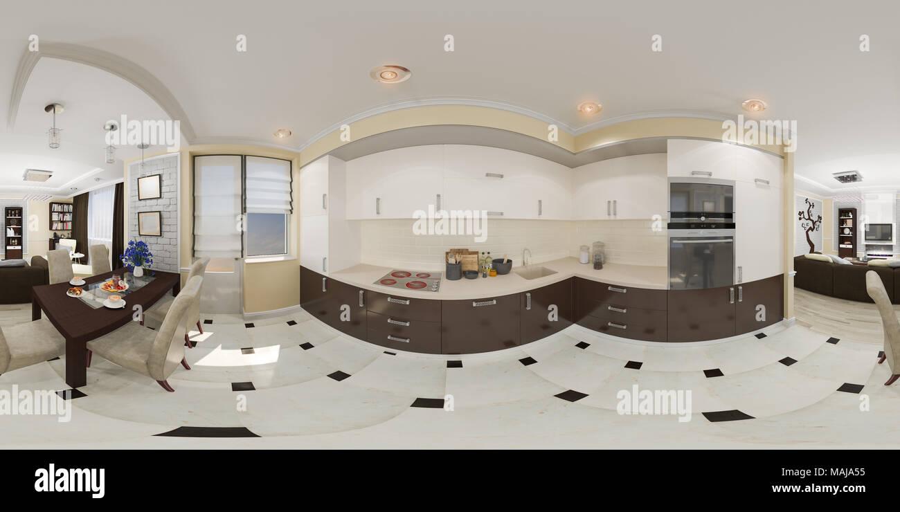 ... Sphärischen 360 Grad, Nahtloses Panorama Von Küche Und Wohnzimmer Und  Interior Design. Modernes Studio Apartment In Einem Modernen Klassischen  Stil