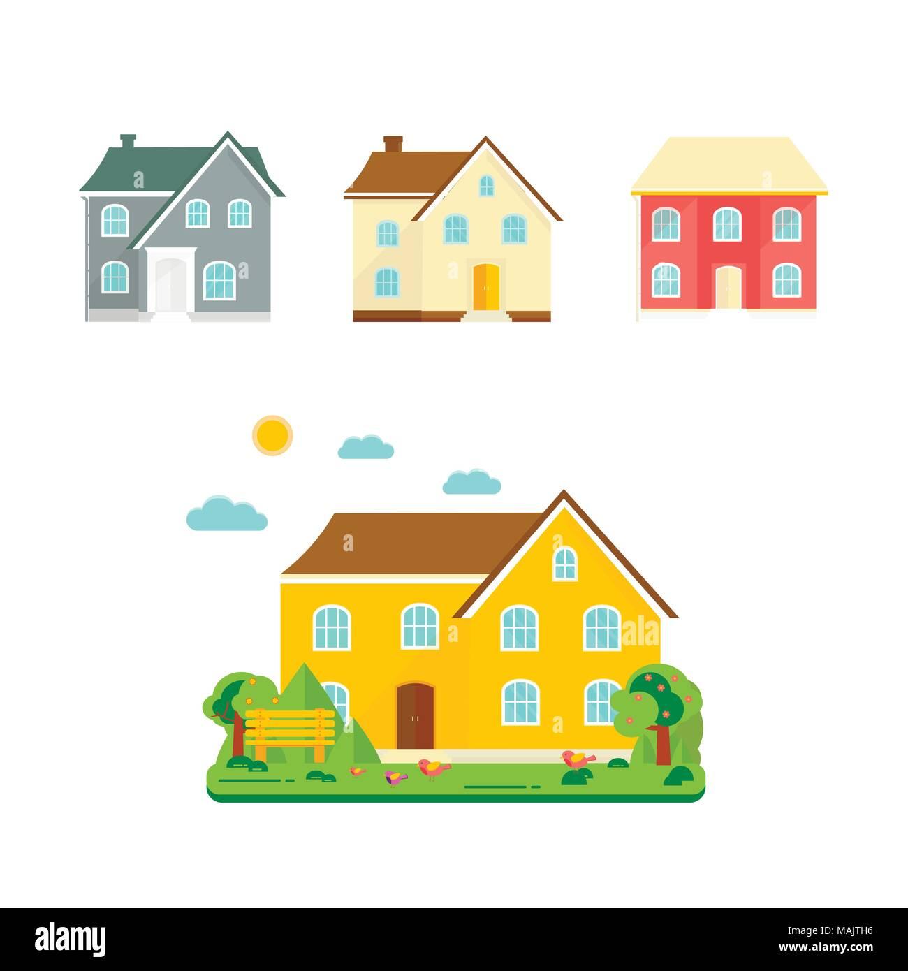 Abstrakte Frühling Hintergrund mit gemütlichen Heim, Haus ...