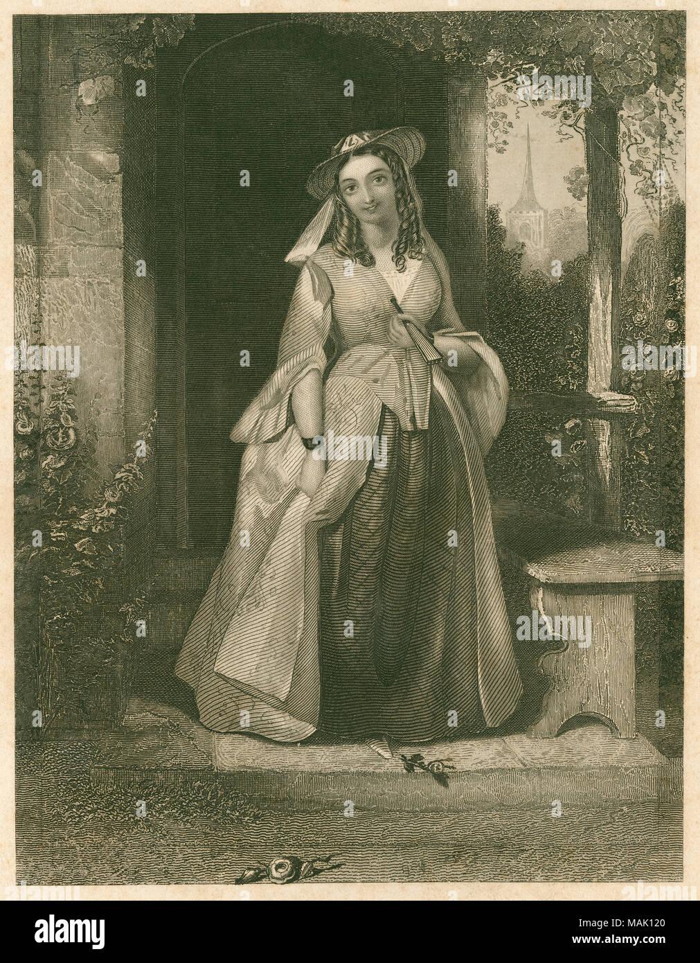 Antike c 1830 Stahlstich, Anne Seite von Shakespeareâ ? ? s Die lustigen Weiber von Windsor. Anne Seite ist Mistress Seite Tochter und in der Liebe mit Fenton. Quelle: ORIGINAL GRAVUR Stockbild