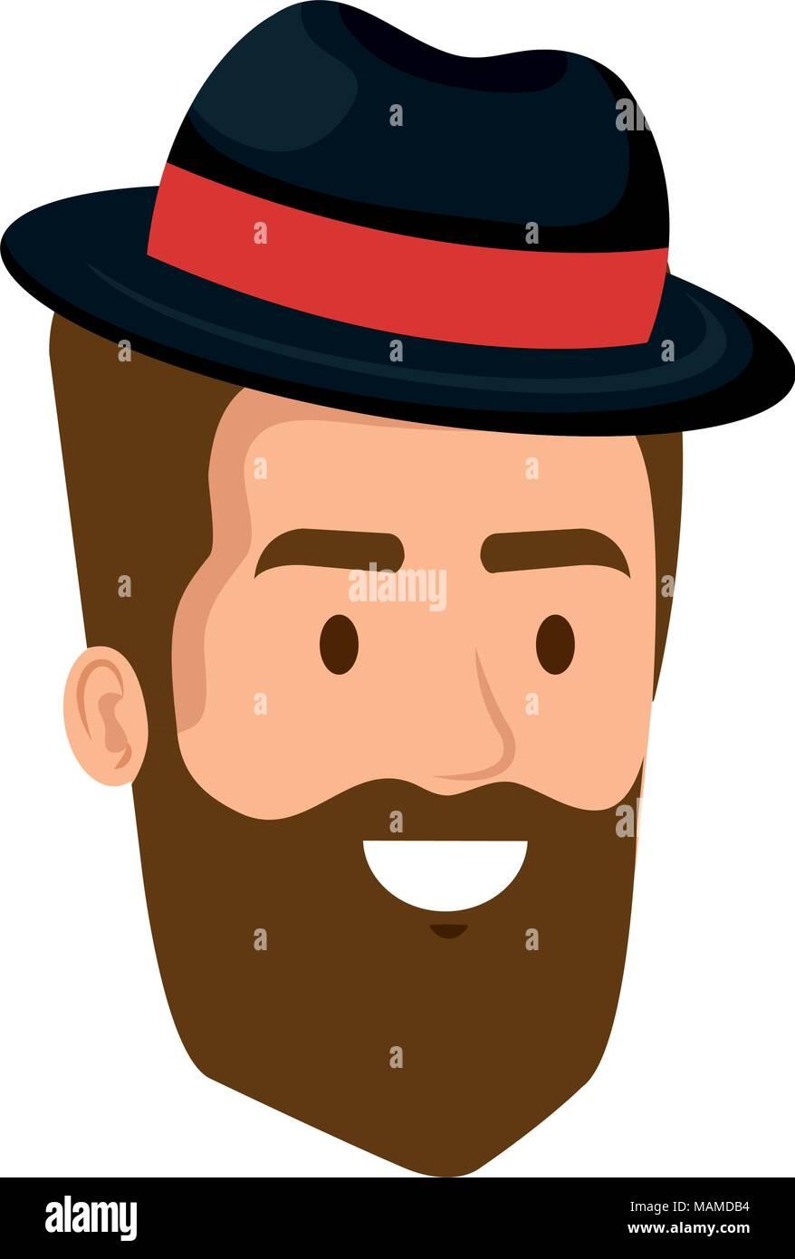 Junger Mann Mit Bart Und Hut Hipster Style Kopf Vektor Abbildung