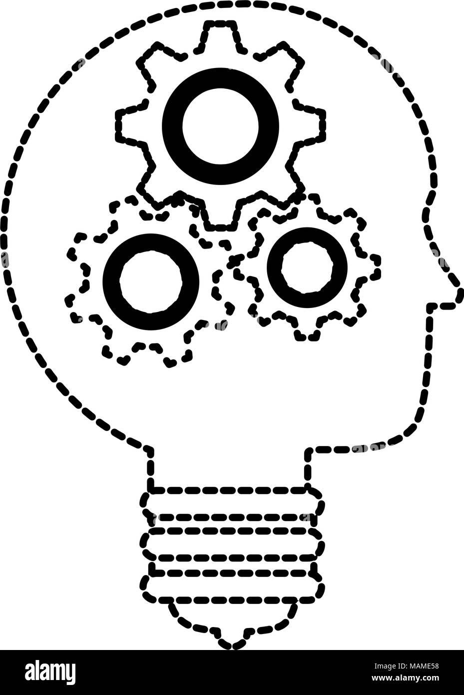 Idée De Photo De Profil glühbirne idee mit profil und zahnräder vektor abbildung