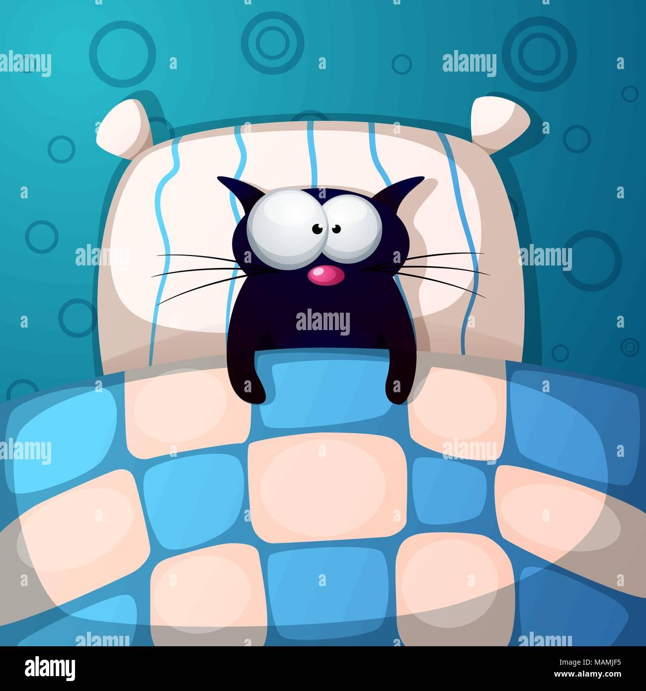 Cartoon Cat Schlafen Abbildung Zimmer Bett Kissen Vektor