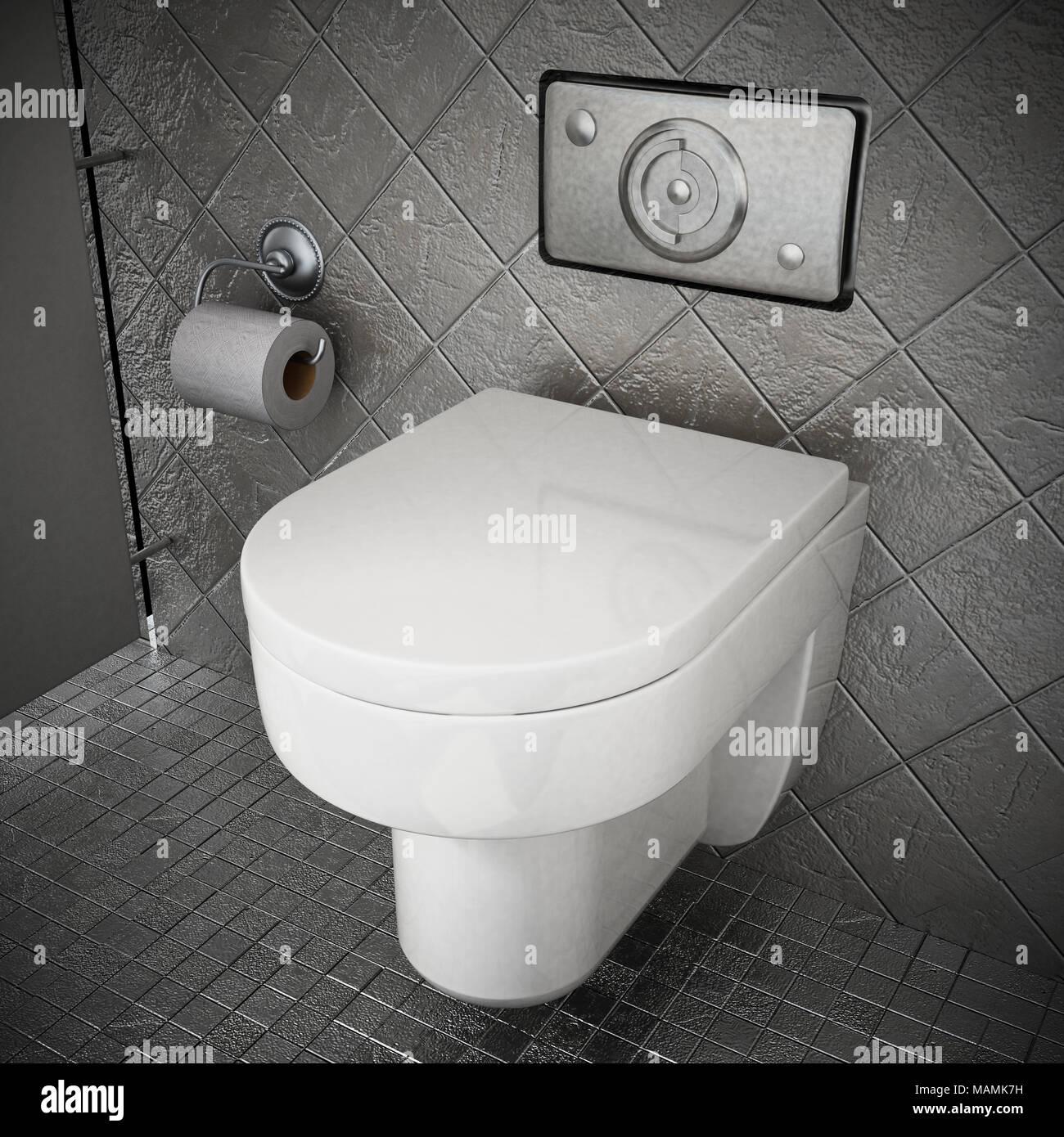 Moderne wc in Toilette mit grauen Steinen bedeckt. 3D-Darstellung ...