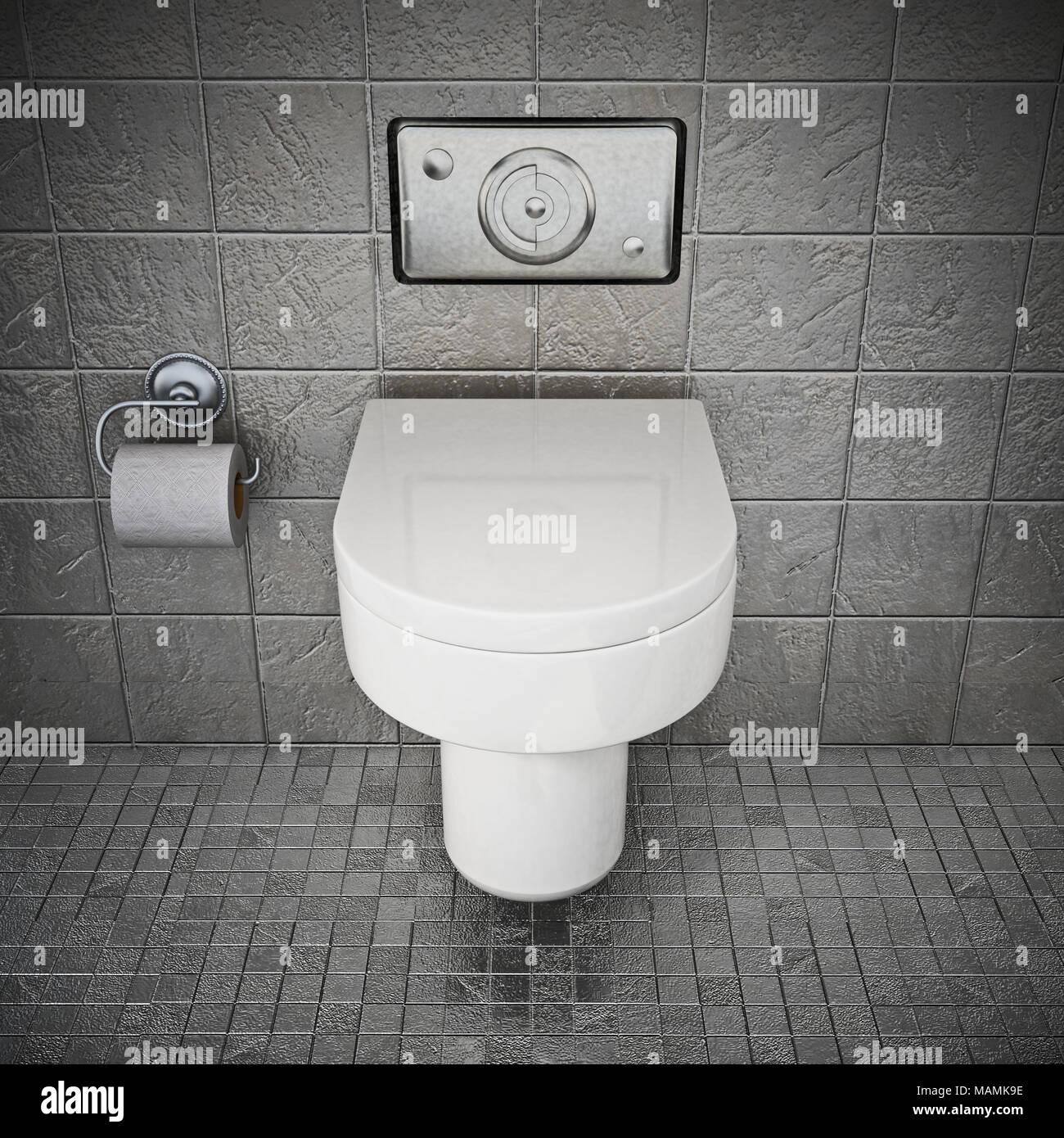 Moderne wc in Toilette mit grauen Steinen bedeckt. 3D ...
