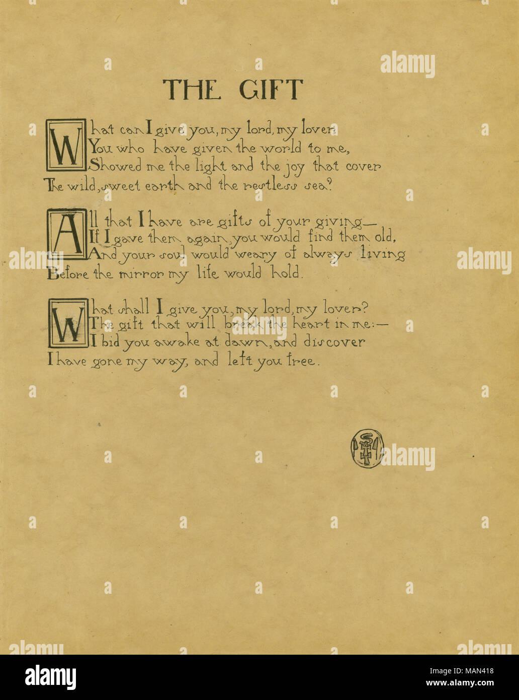 Das Geschenk Gedicht Von Author Titel Die Töpferscheibe