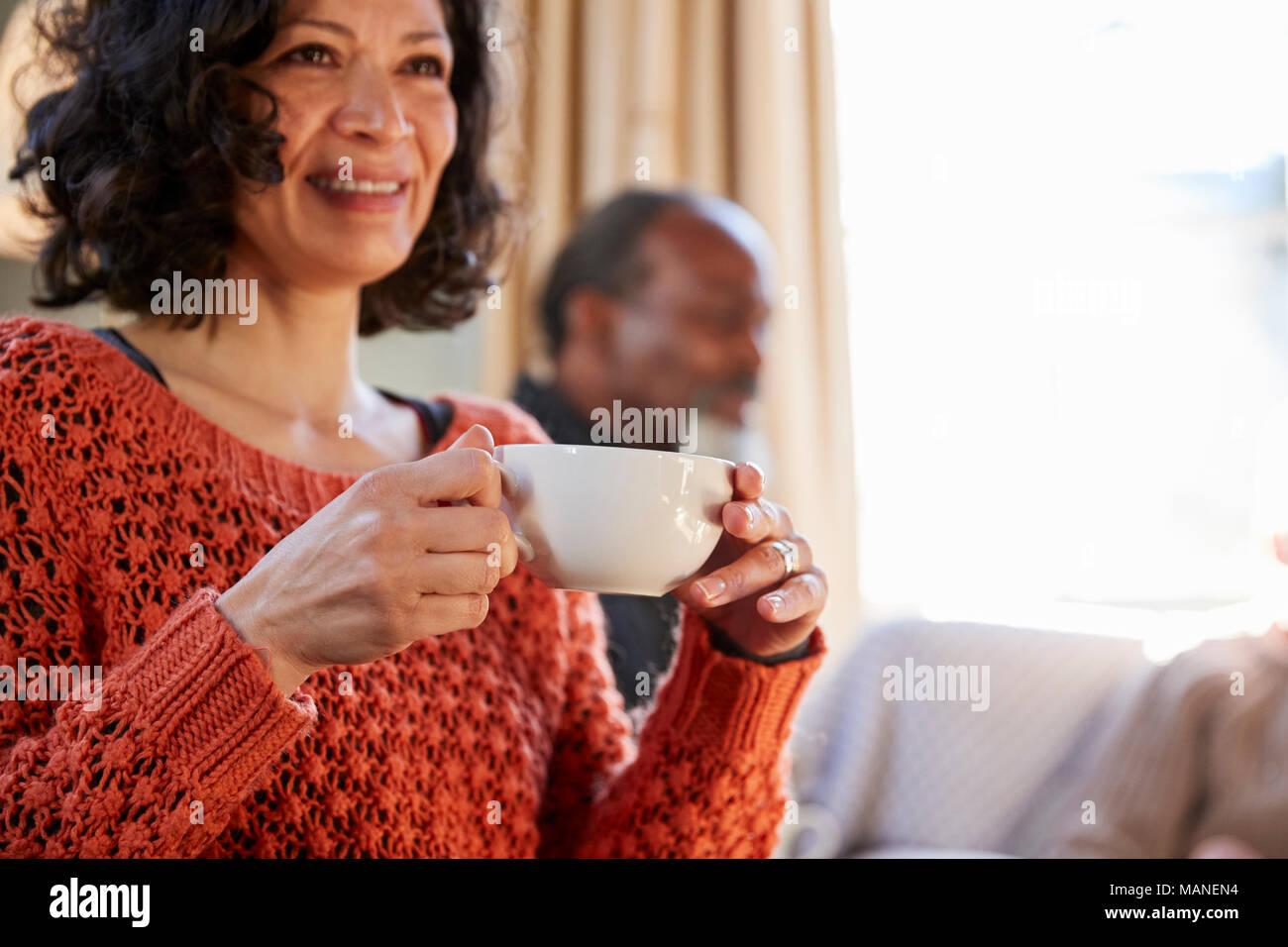 Frau mittleren Alters mit Freunden treffen um den Tisch im Café Stockbild