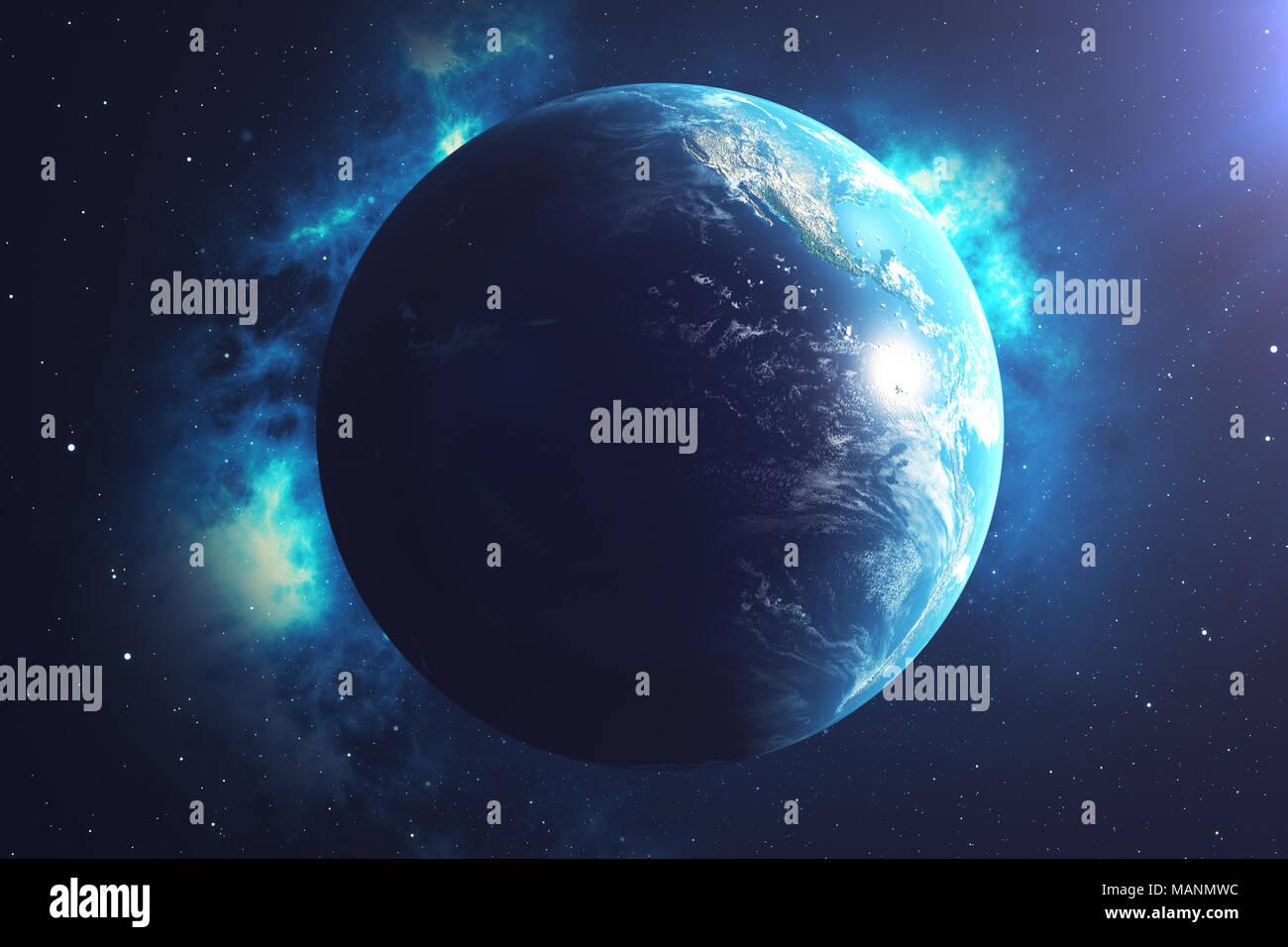 Großartig Weltkugel 3d Referenz Von 3d-rendering Weltkugel. Mit Hintergrund Sterne Und Nebel.
