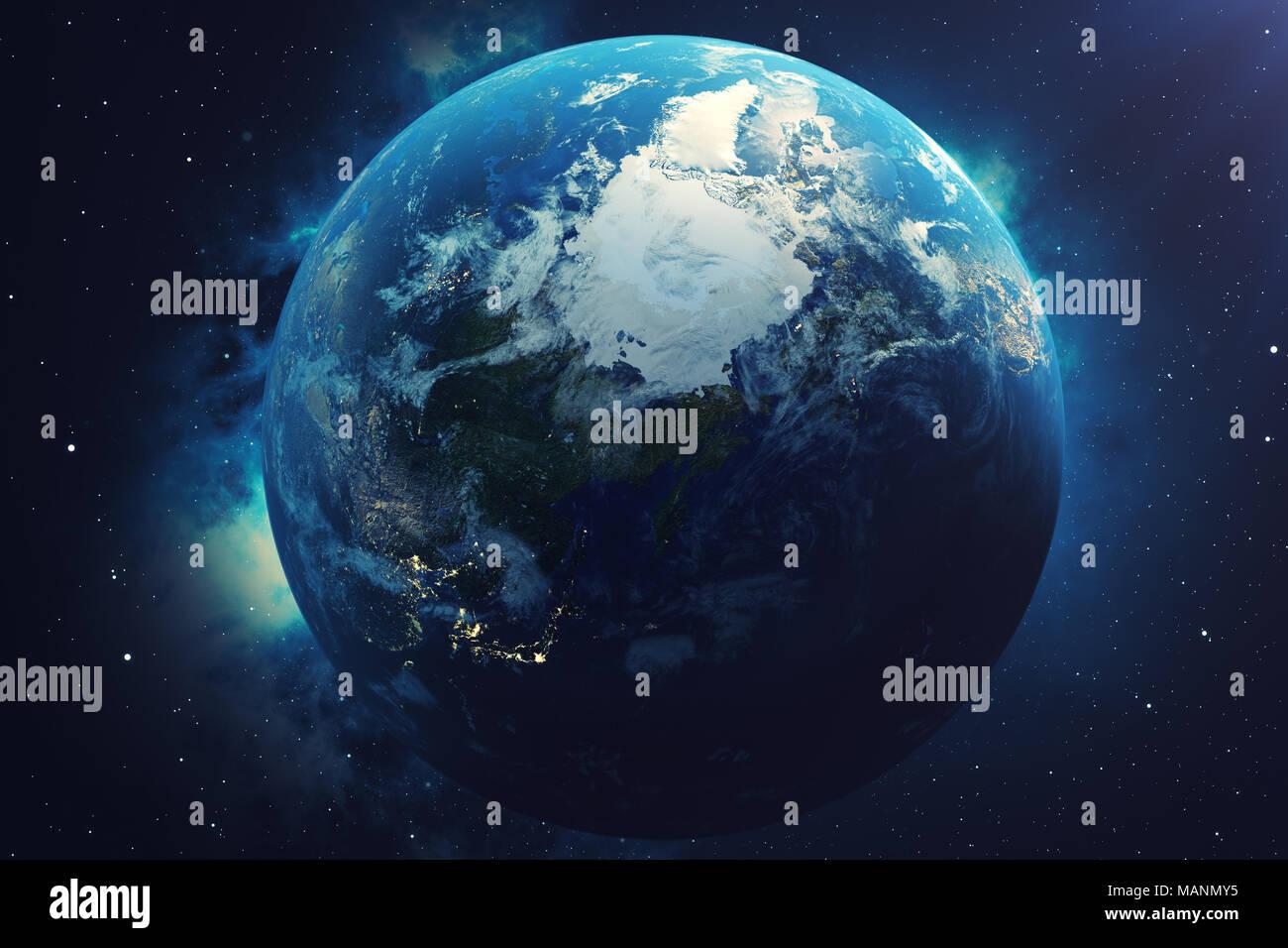 Astounding Weltkugel 3d Ideen Von 3d-rendering Weltkugel. Mit Hintergrund Sterne Und Nebel.
