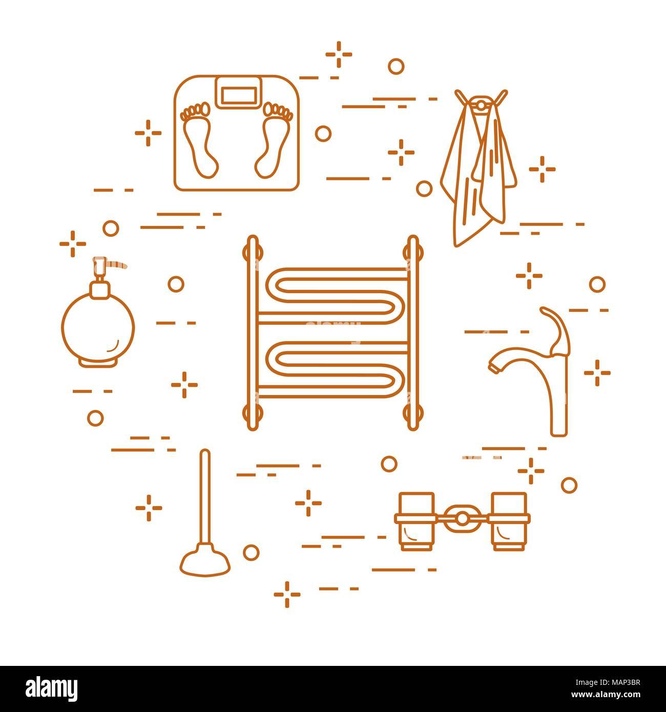 Badezimmer Elemente Waagen Handtuchwärmer Wasserhahn Kolben