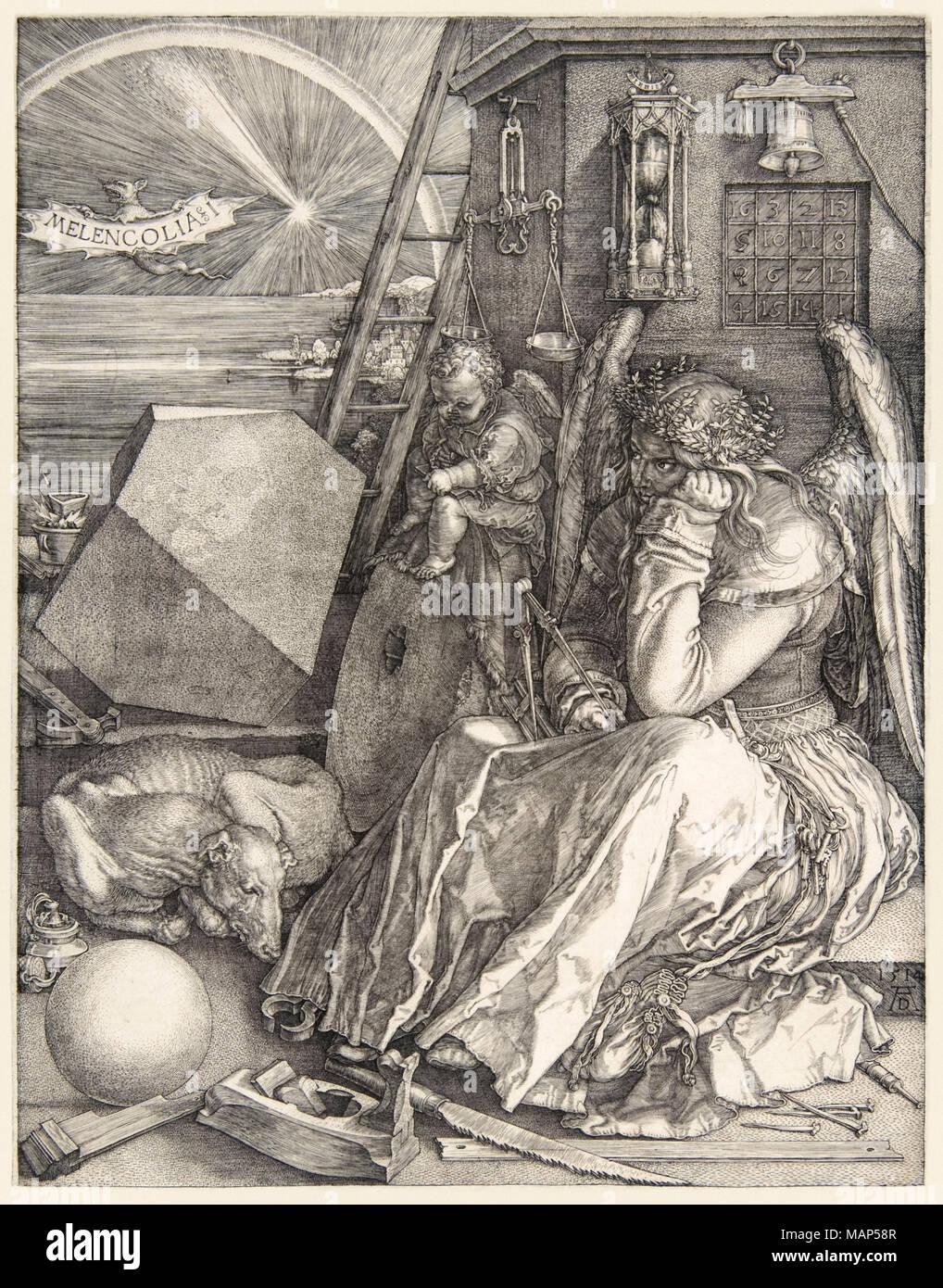 'Melencolia I' von Albrecht Dürer (1471-1528) Auf seiner 3 master Gravuren in 1514 abgeschlossen. Weitere Informationen finden Sie unten. Stockbild