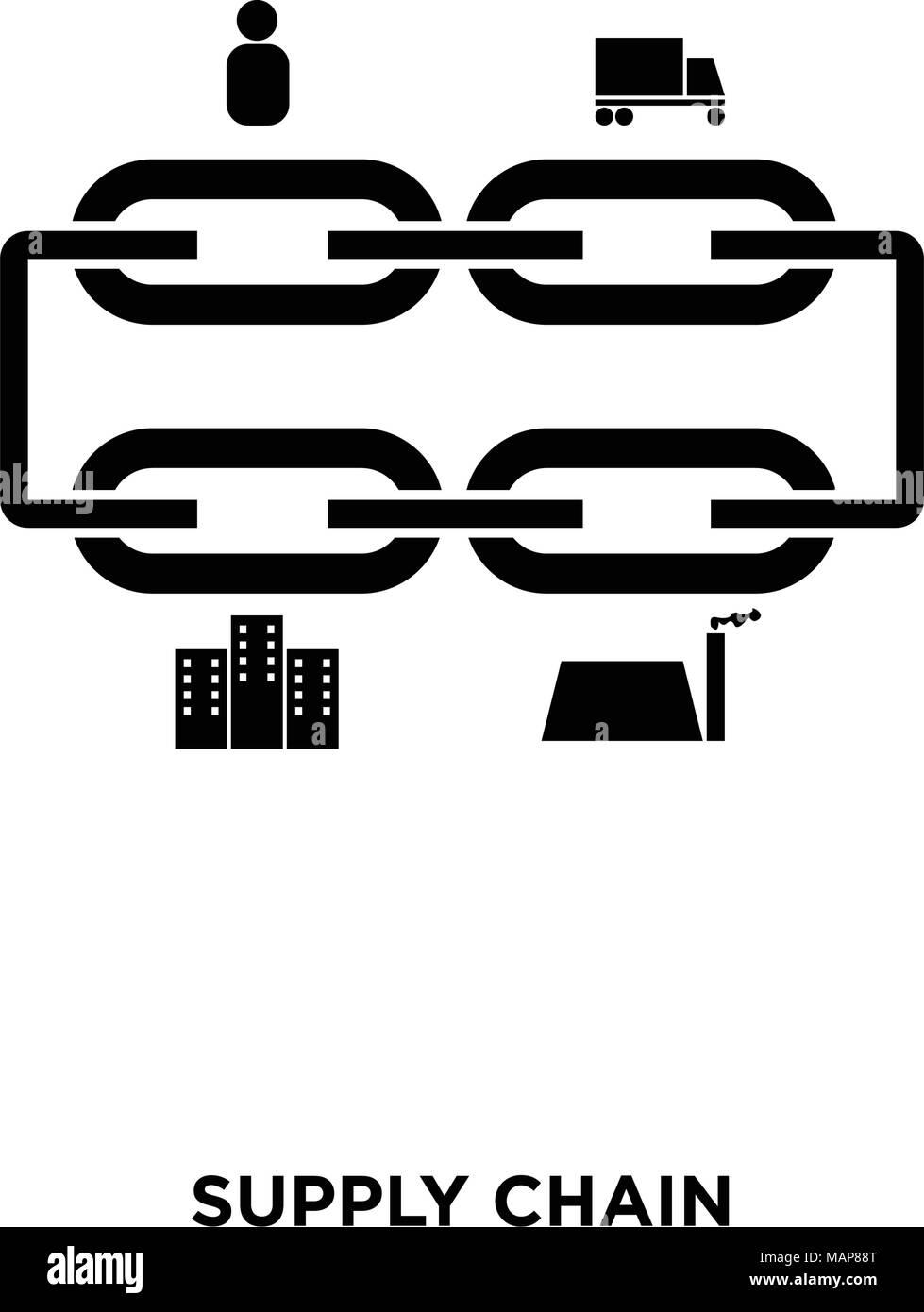 Supply Chain Symbol Auf Weiem Hintergrund In Schwarz Vektor Icon
