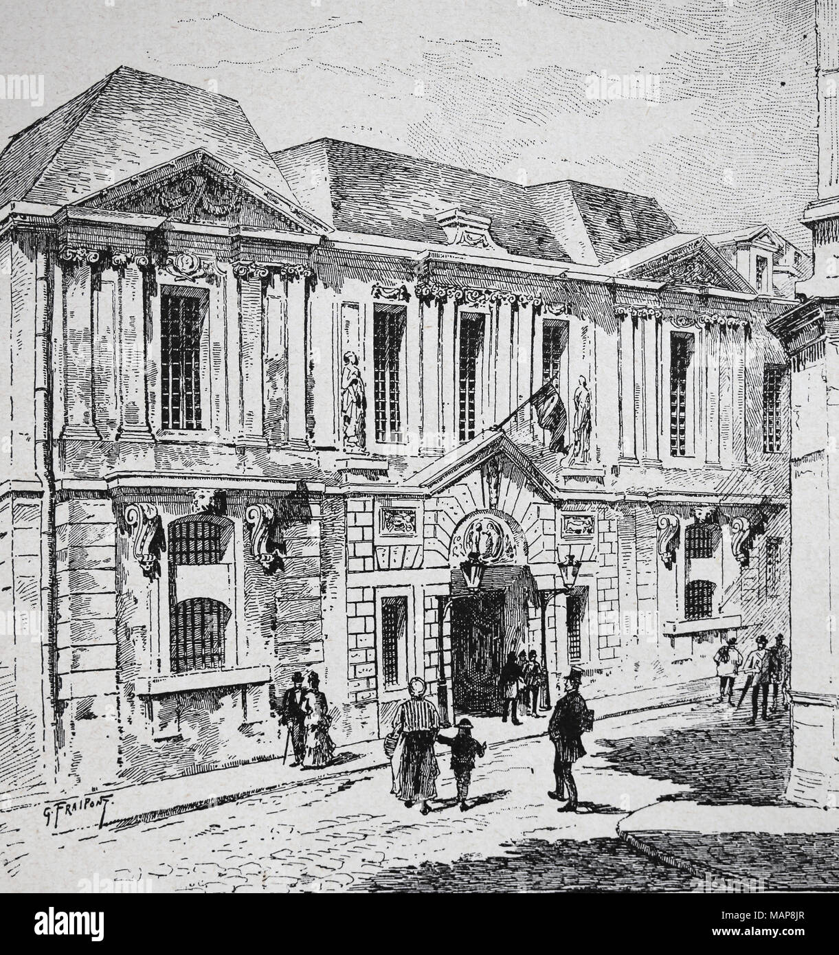 Frankreich. Paris. Das Historische Archiv im Carnavalet Hotels. Gravur, 19. Stockbild