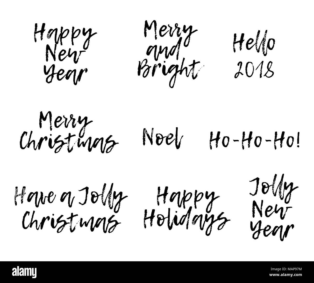 Frohe Weihnachten Text Karte.Satz Von Frohe Weihnachten Karte Mit Kalligraphie Text