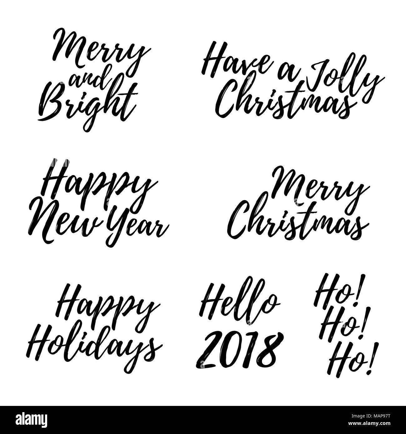 Satz von Frohe Weihnachten Karte mit Kalligraphie Text. Vorlage für ...