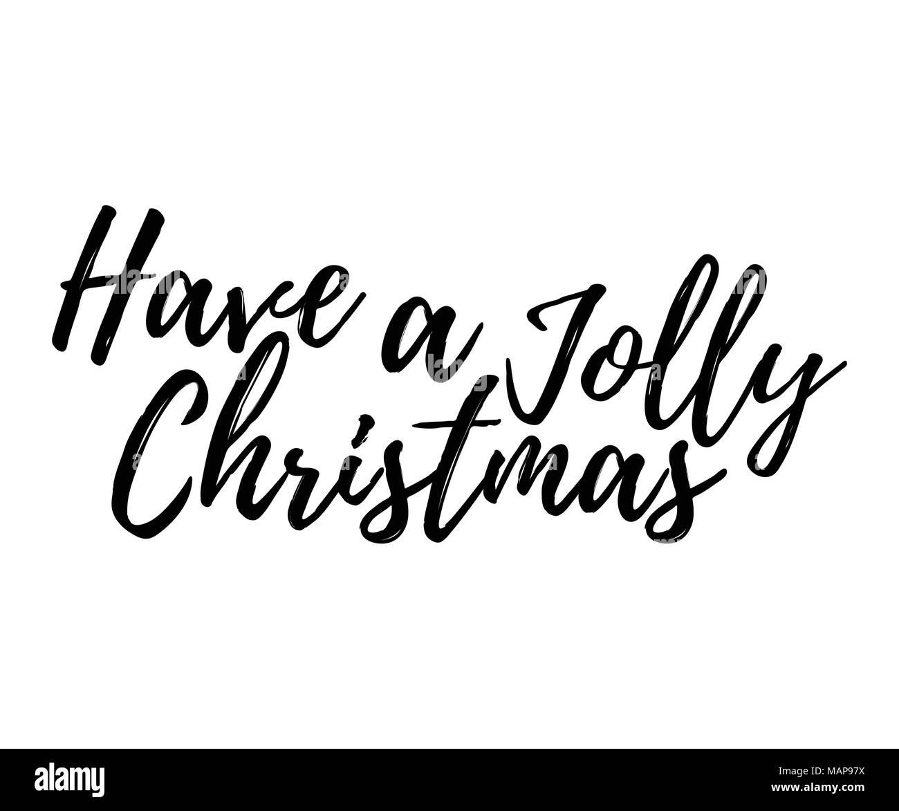 Weihnachtskarte mit Kalligraphie haben eine fröhliche Weihnachten ...