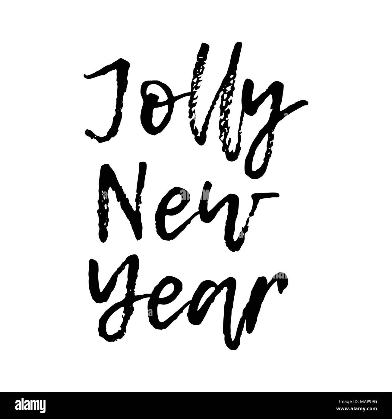 Weihnachtskarte mit Kalligraphie Jolly neues Jahr. Vorlage für ...
