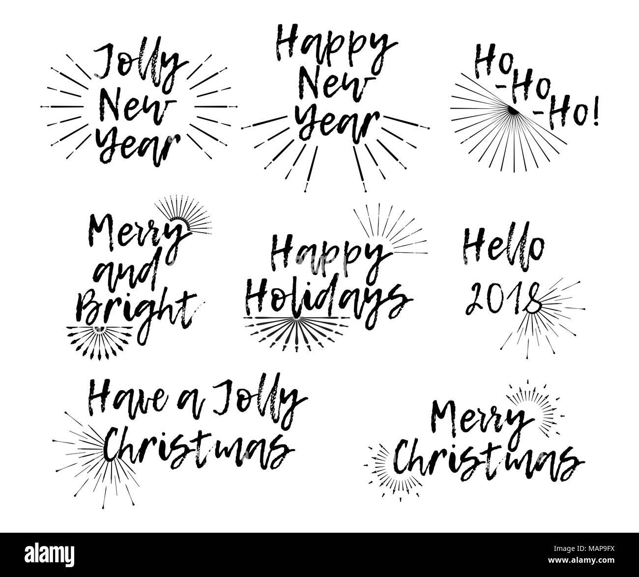 Satz von Frohe Weihnachten Karte mit Kalligraphie text und Sunburst ...
