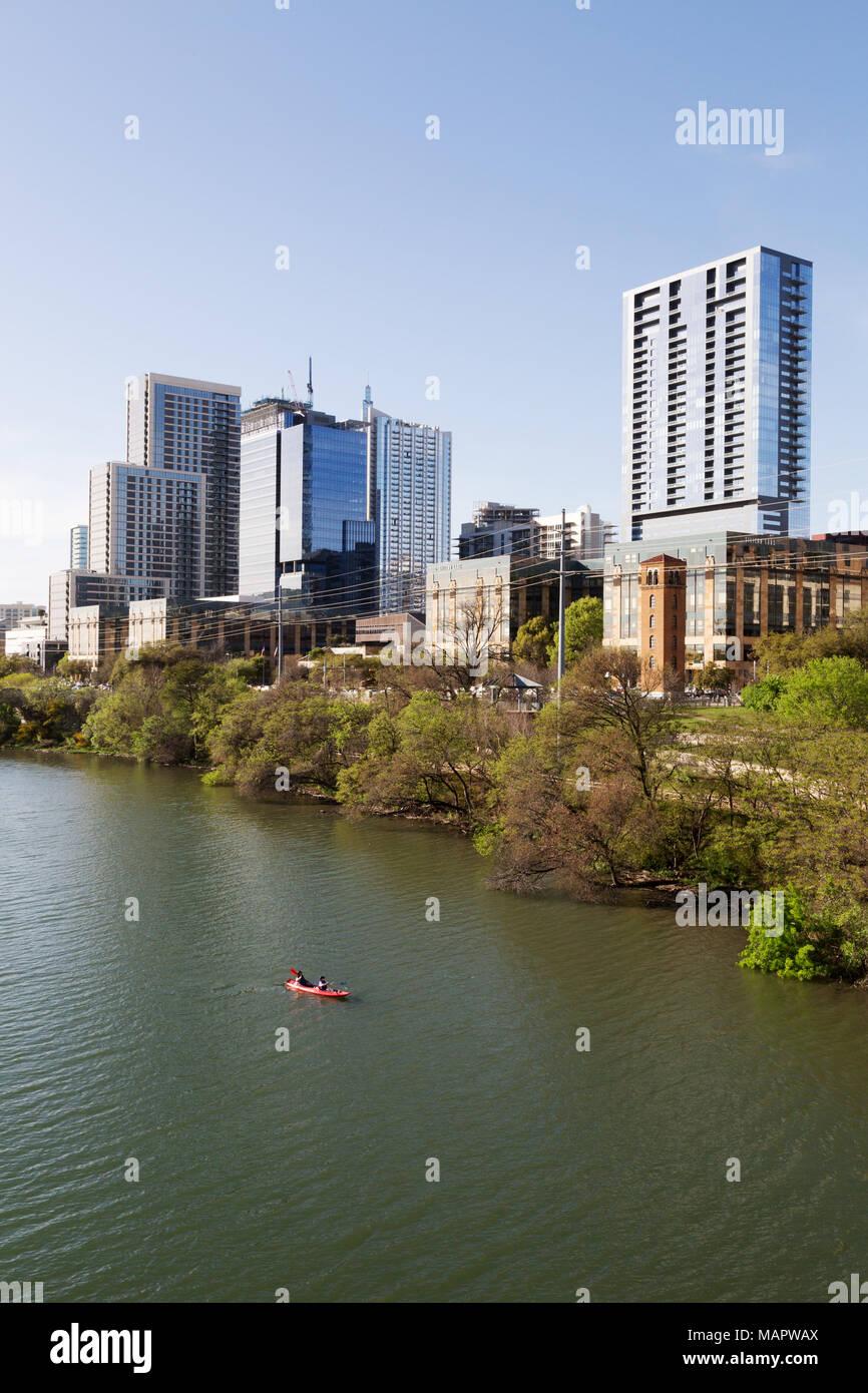 Austin Texas City Skyline und den Colorado River, Downtown, Austin, Texas, USA Stockbild