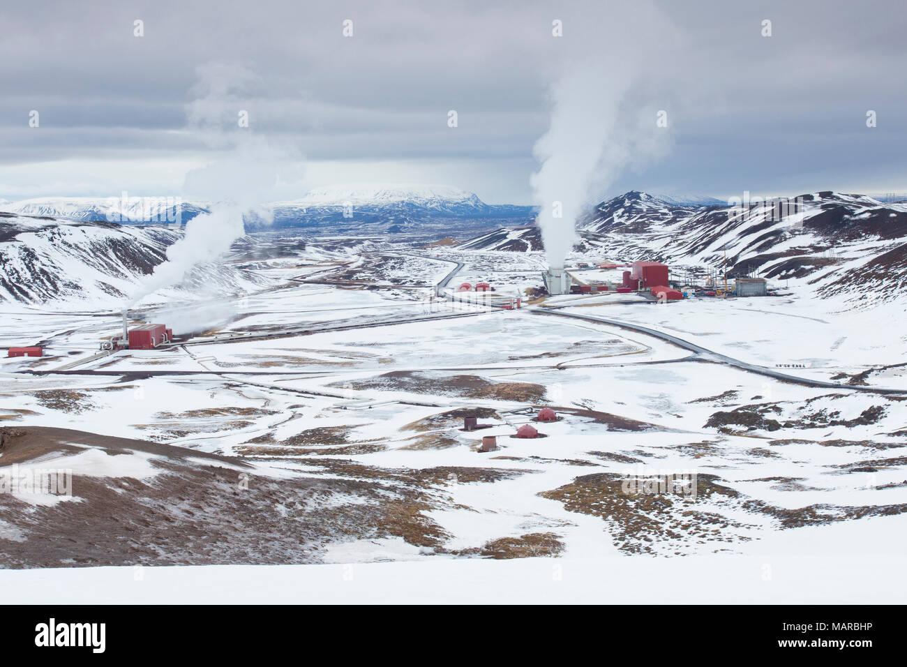 Geothermisches Kraftwerk Krafla, Island Stockbild