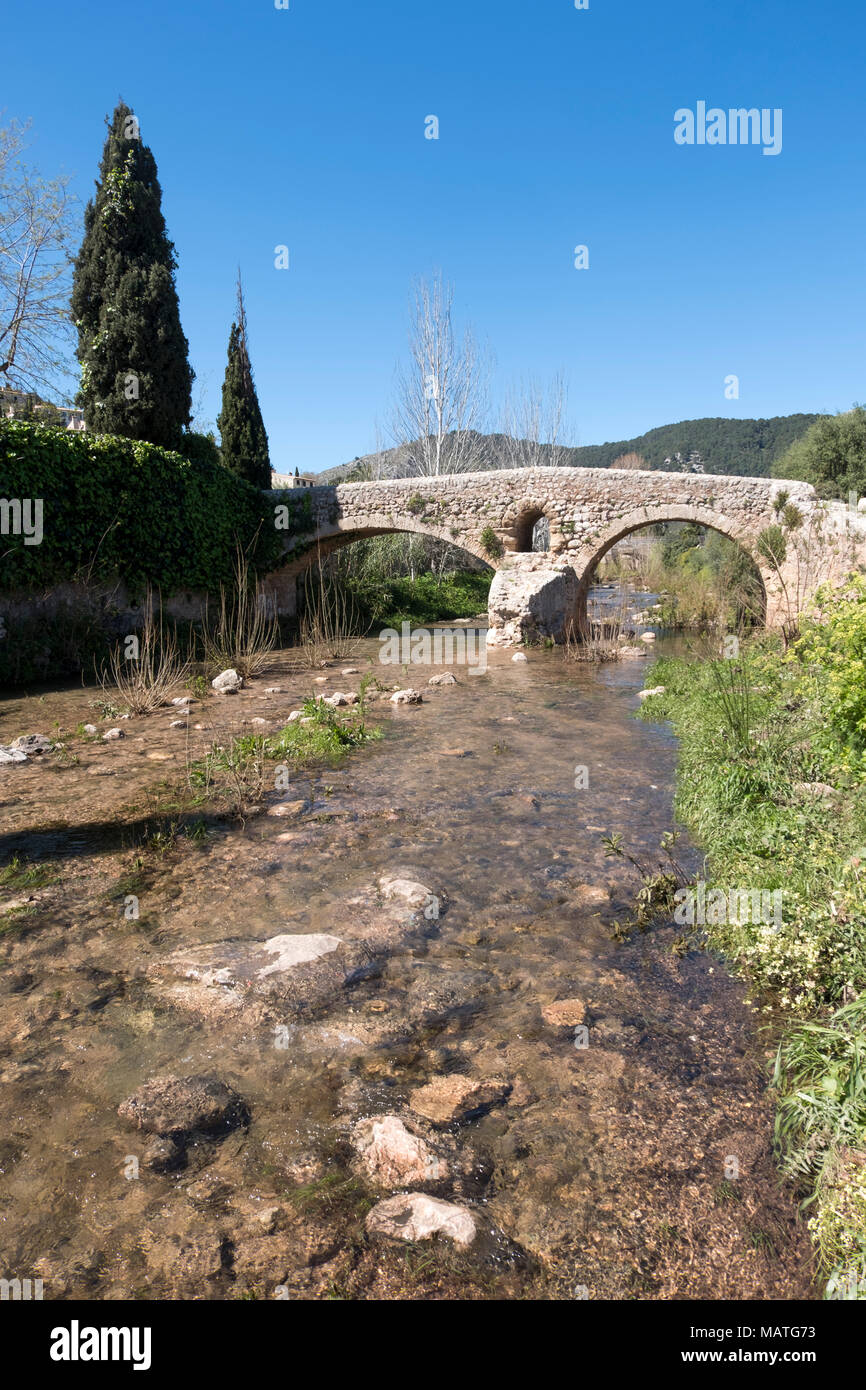Mallorca, Pollenca, Pont Roma, Römische Brücke. Stockbild