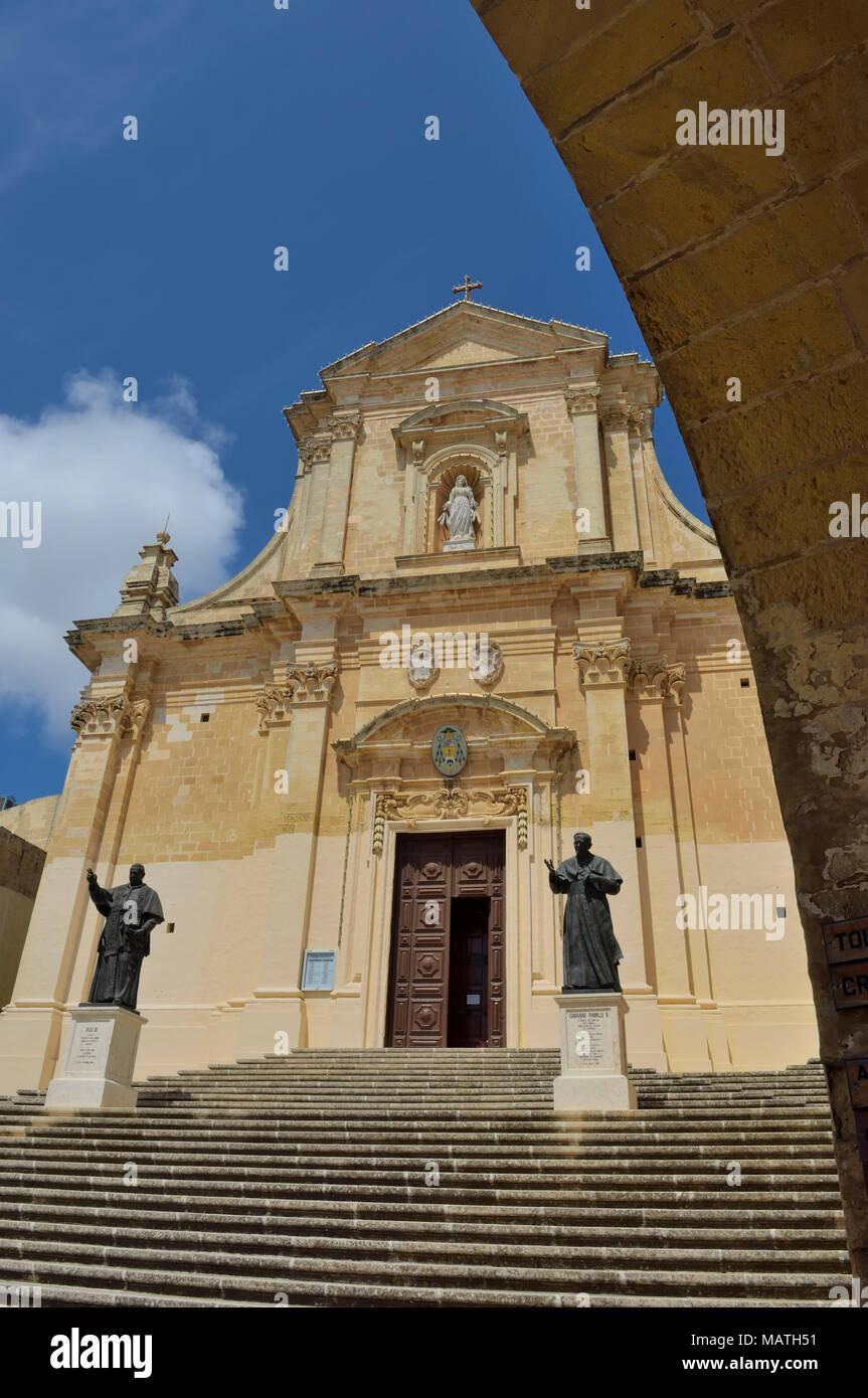 Die Kathedrale der Mariä Himmelfahrt in der Zitadelle von Victoria auf Gozo, Malta Stockbild