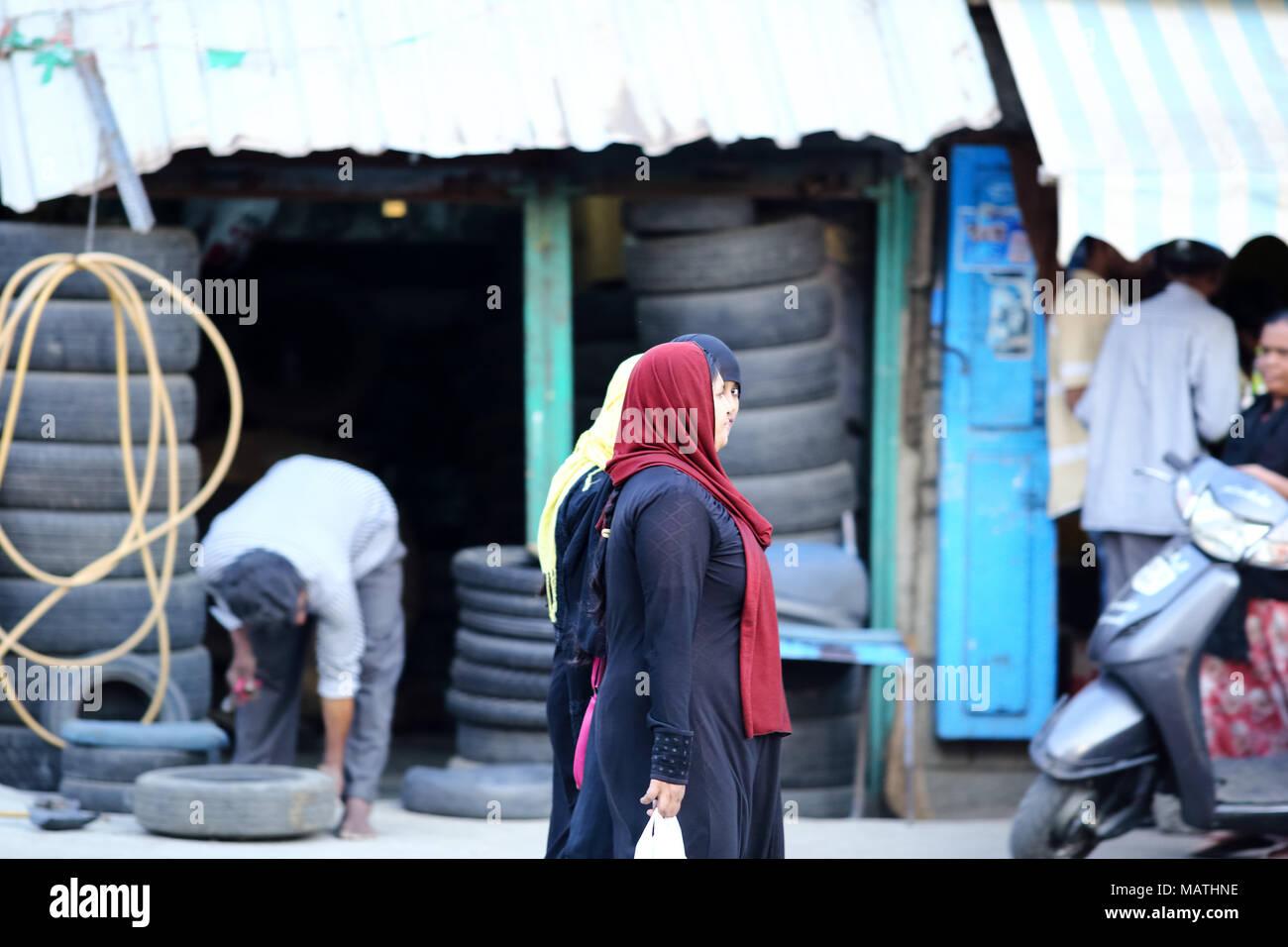 Bangalore Indien 23 Oktober 2016 Unbekannte Muslimische Frauen