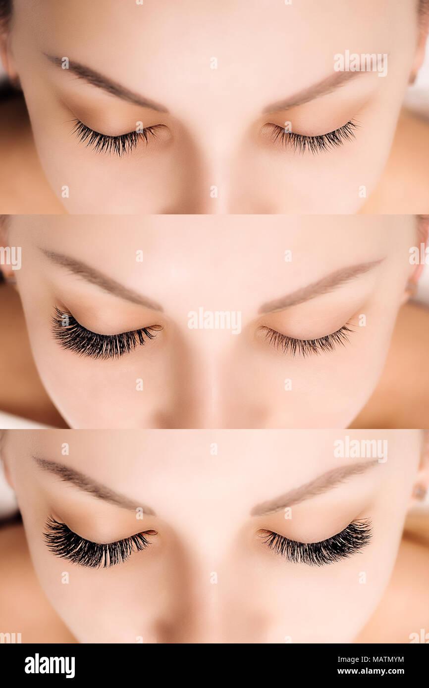 Wimpernverlängerung. Vergleich der weiblichen Augen vor und nach. Stockbild