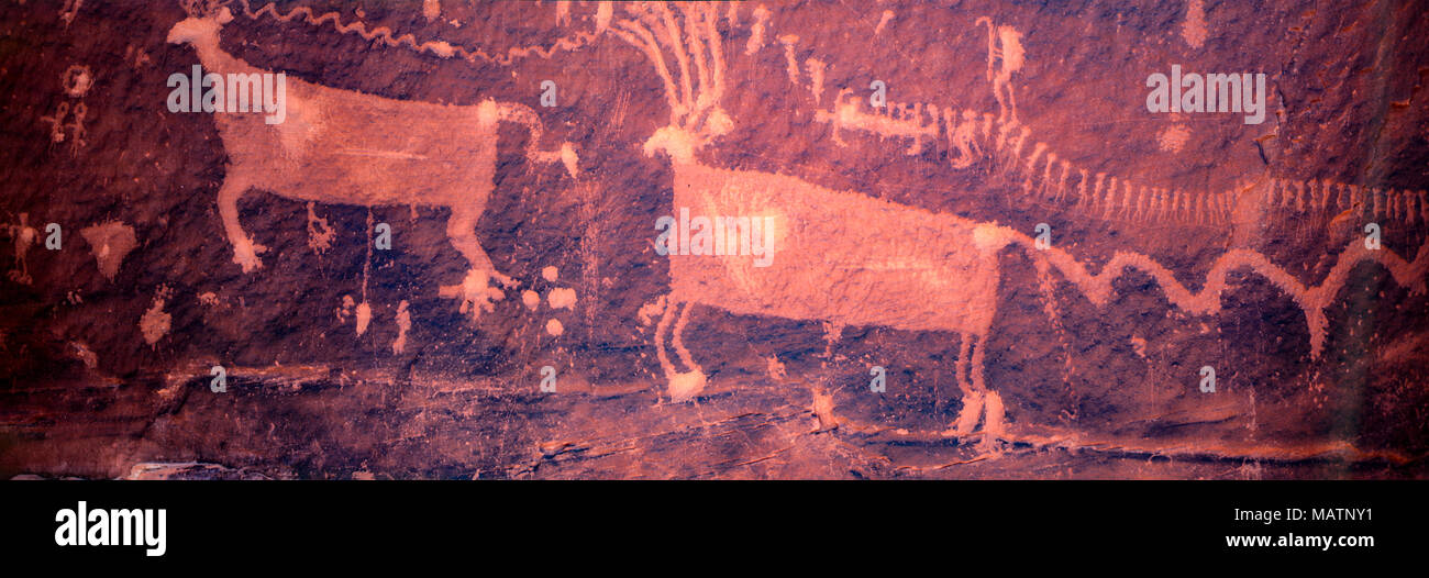 Die Prozession Panel, Bären Ohren National Monument, Utah, Alte Indianische Felszeichnungen Stockbild